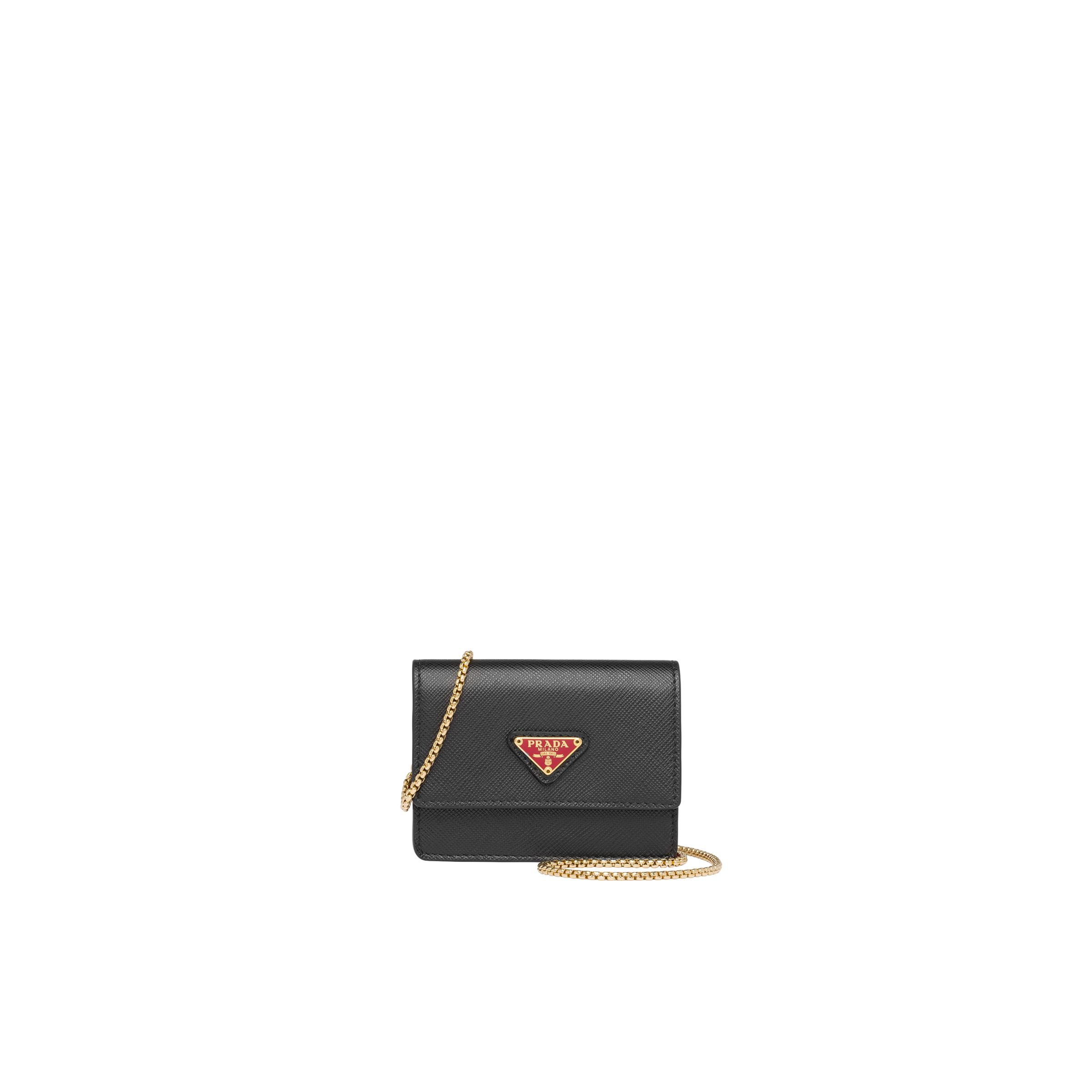 Saffiano Leather Card Holder With Chain Women Black/fiery Red