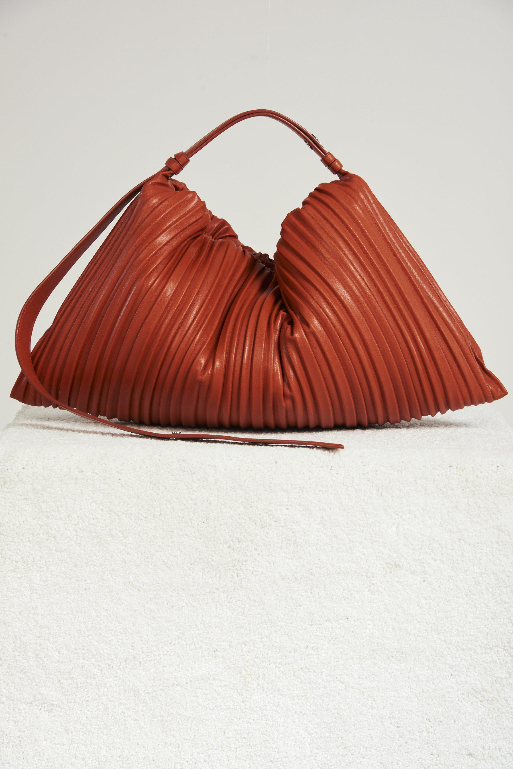 Vegan Large Puffin in Sepia Brown Pleated