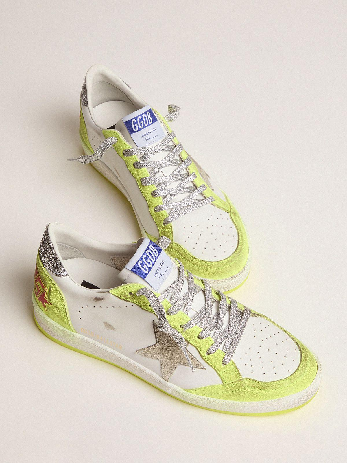 White Ball Star sneakers with fluorescent yellow inserts and glitter 1