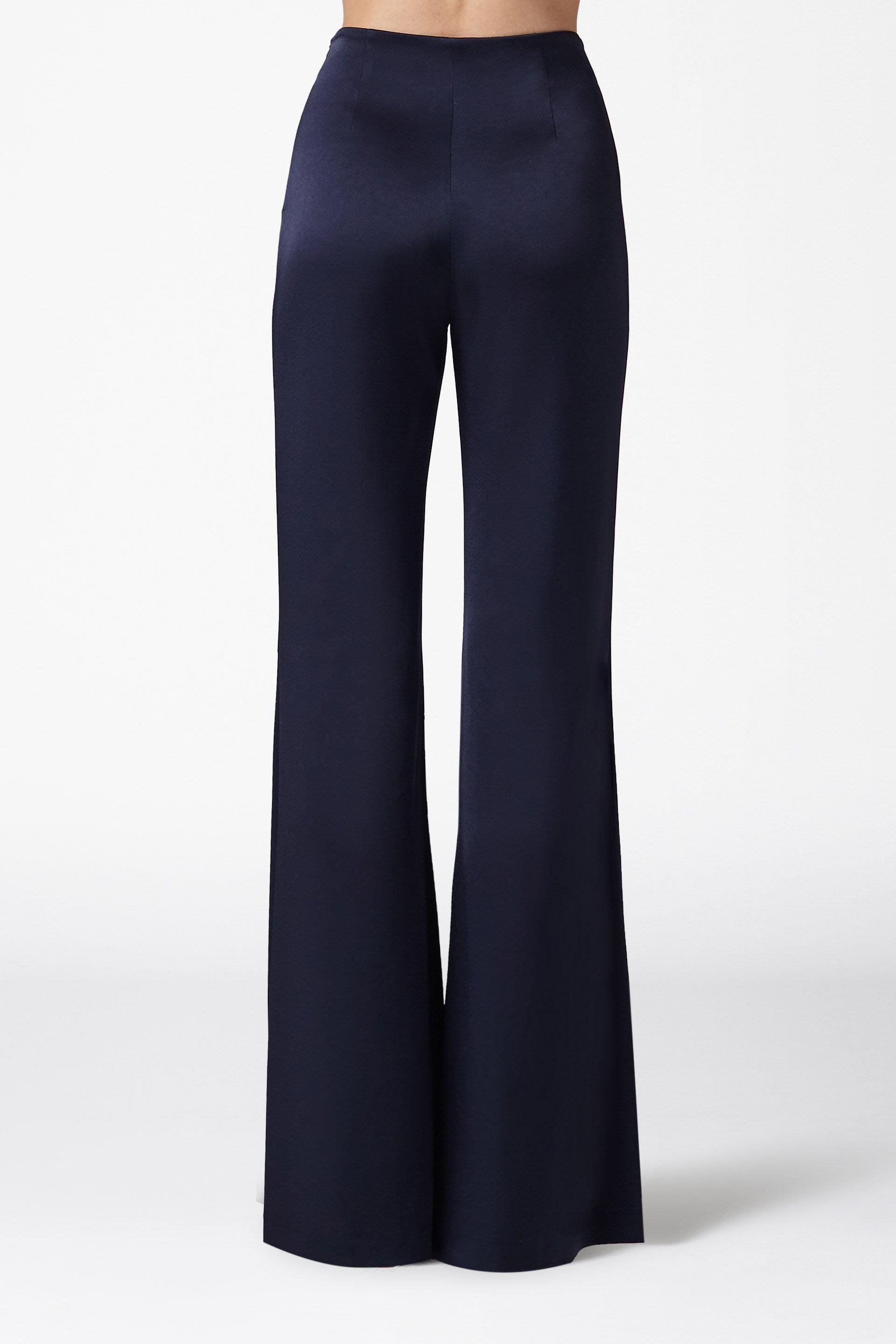High Waisted Satin Trousers - Midnight 3
