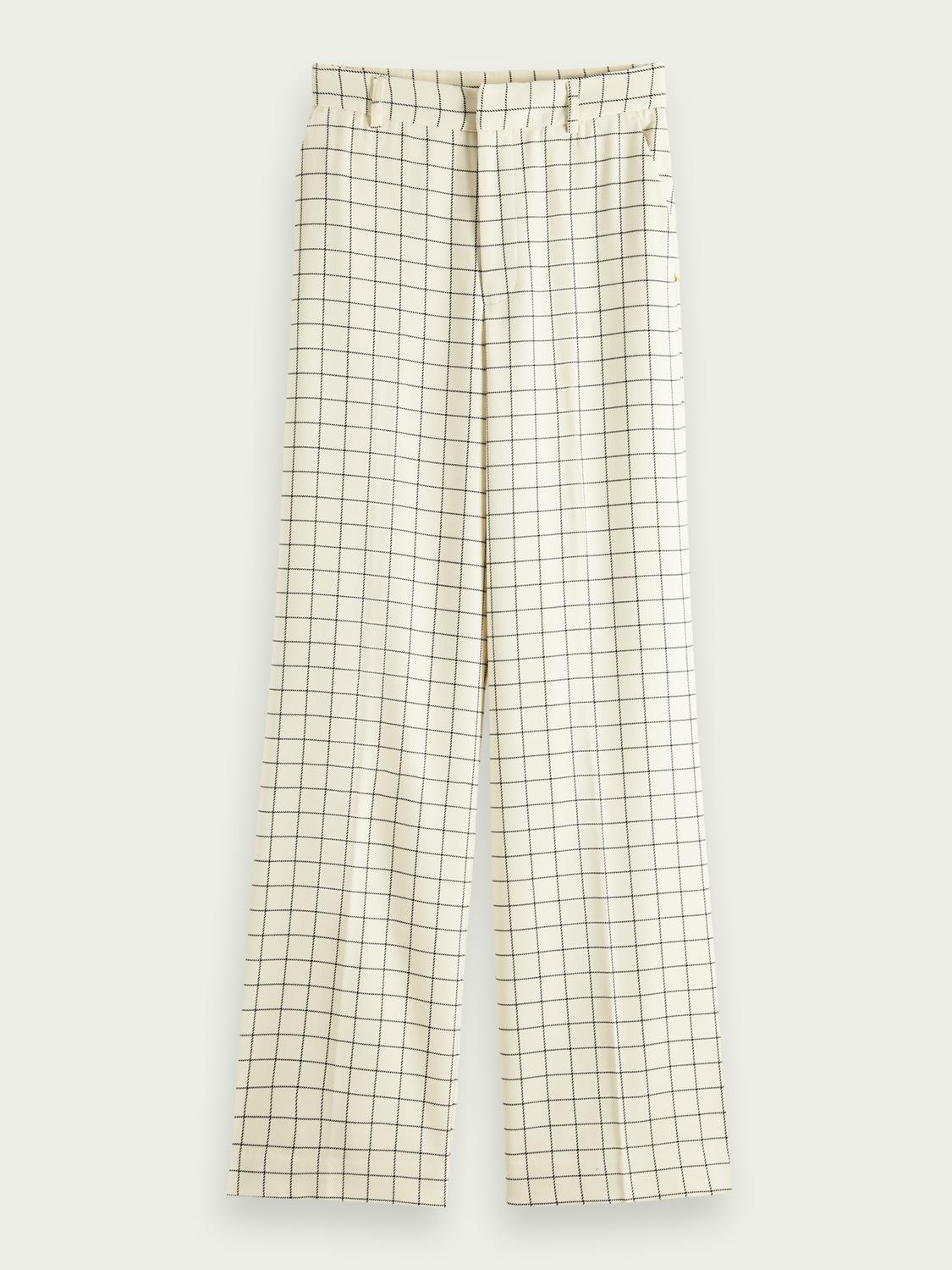Edie high-rise wide-leg checked trousers 5