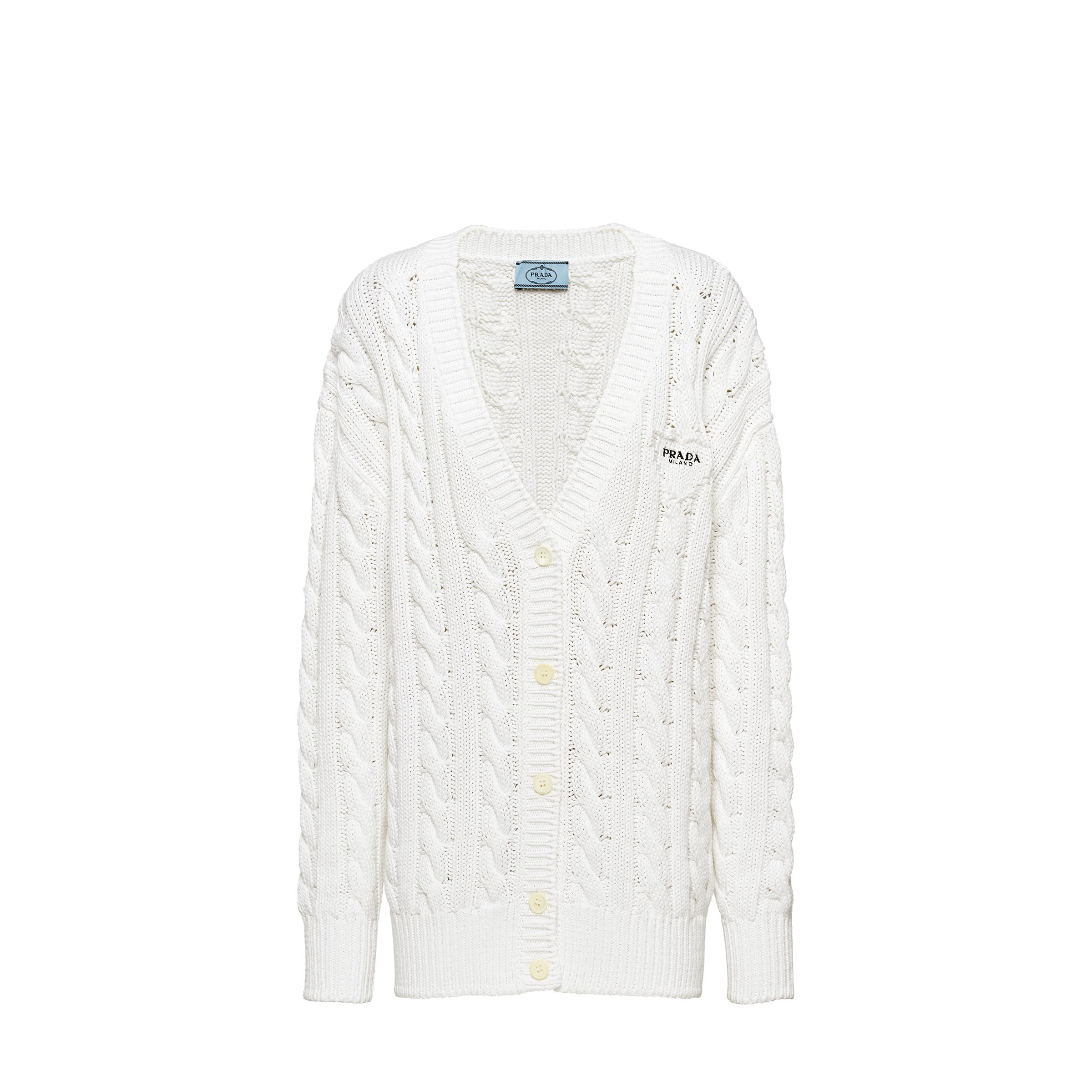 Cotton Cable-knit Cardigan Women White