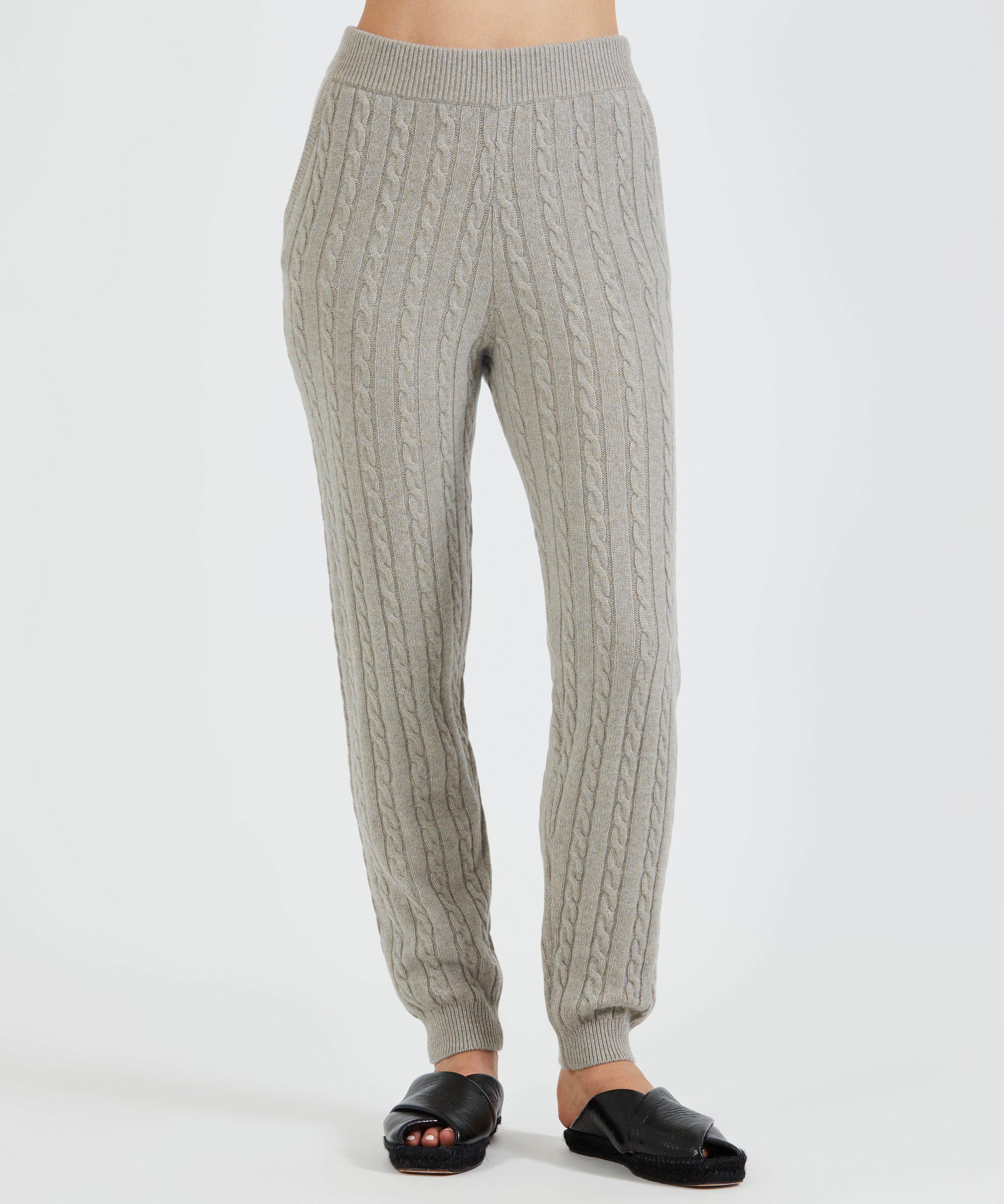 Luxe Wool Cashmere Cable Knit Pull-On Pant - Pumice