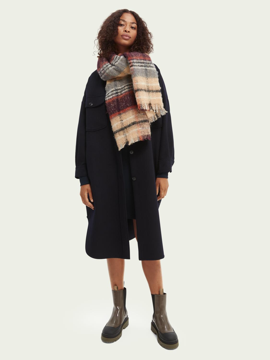Woven checked wool scarf