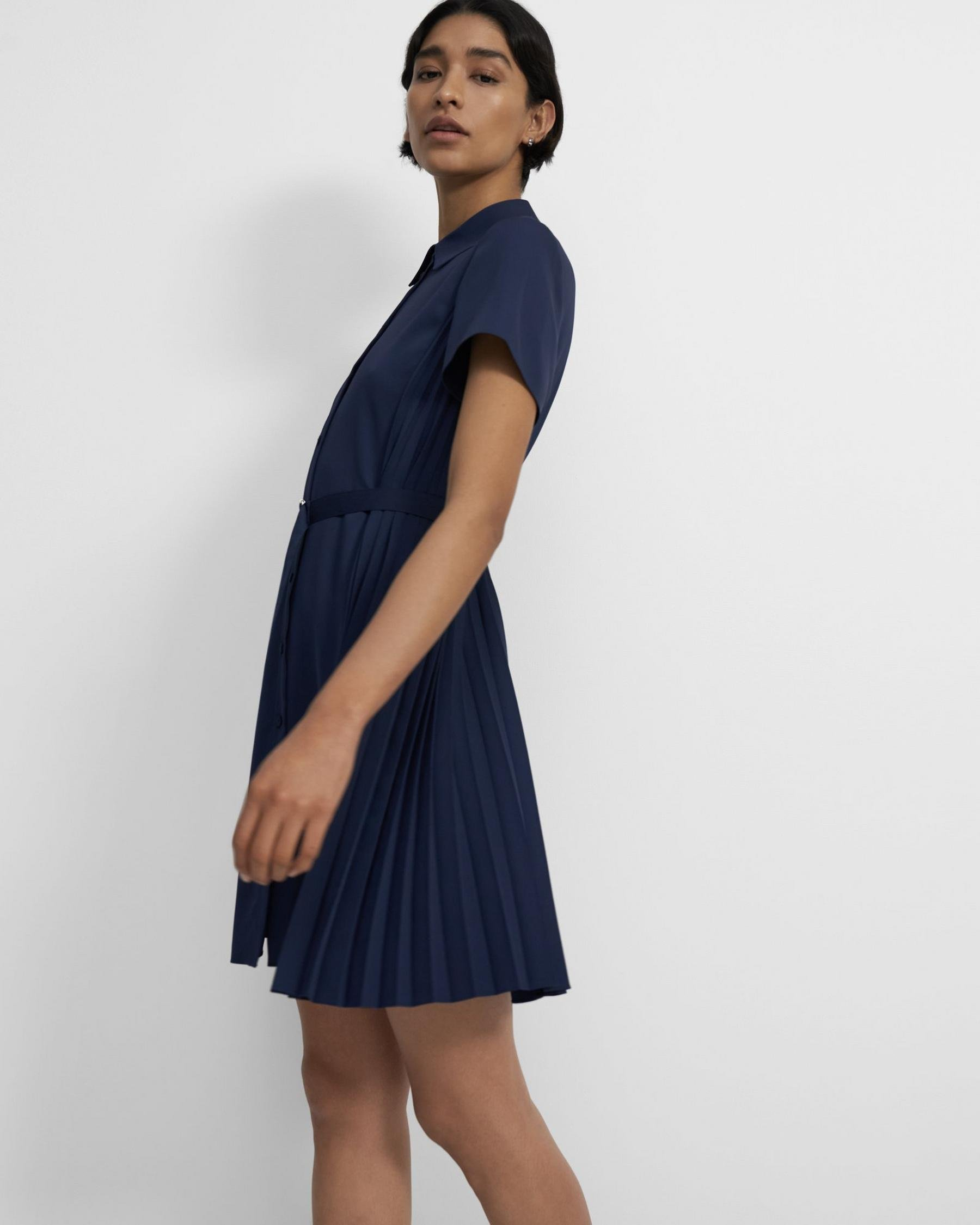 Pleated Short-Sleeve Shirtdress in Satin Crepe