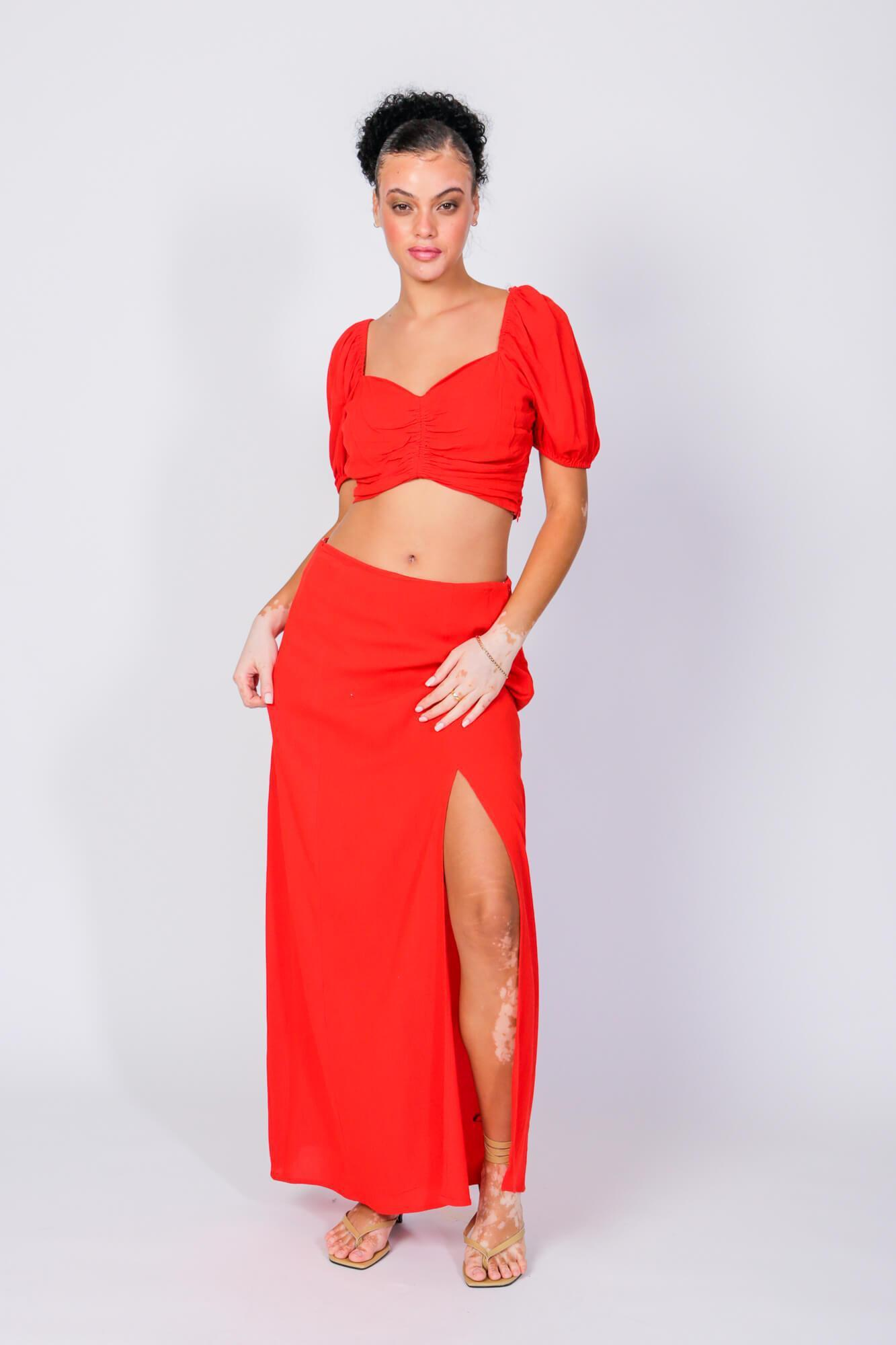 Rene Angela Crop Top and Skirt Two Piece Set