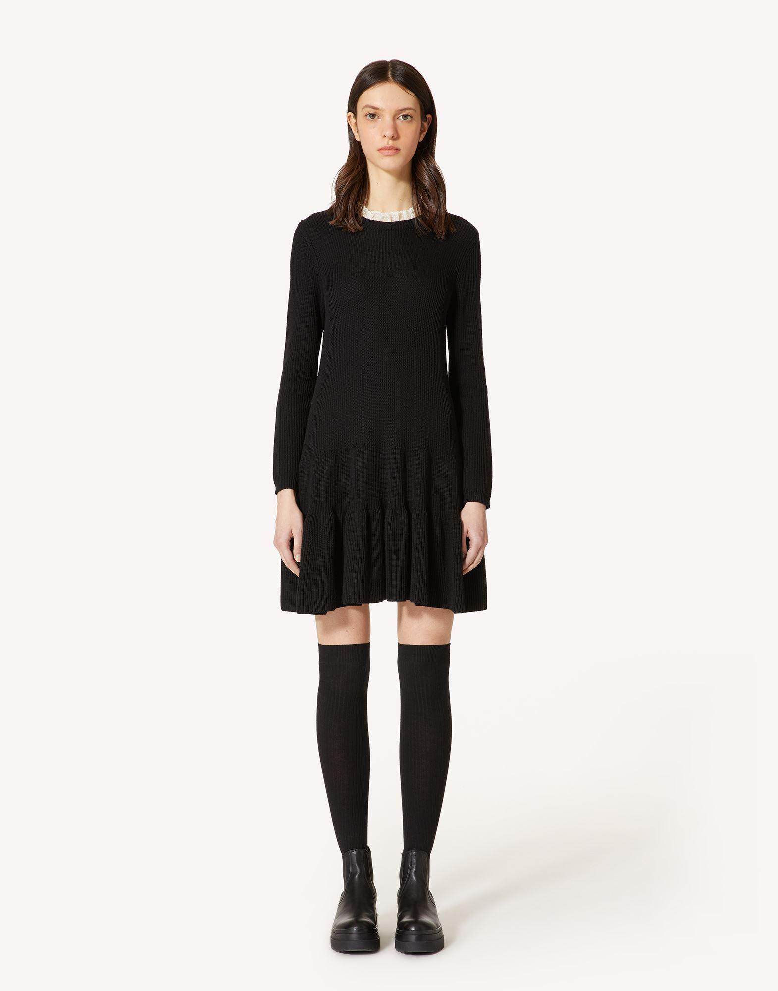 WOOL KNIT DRESS WITH LACE