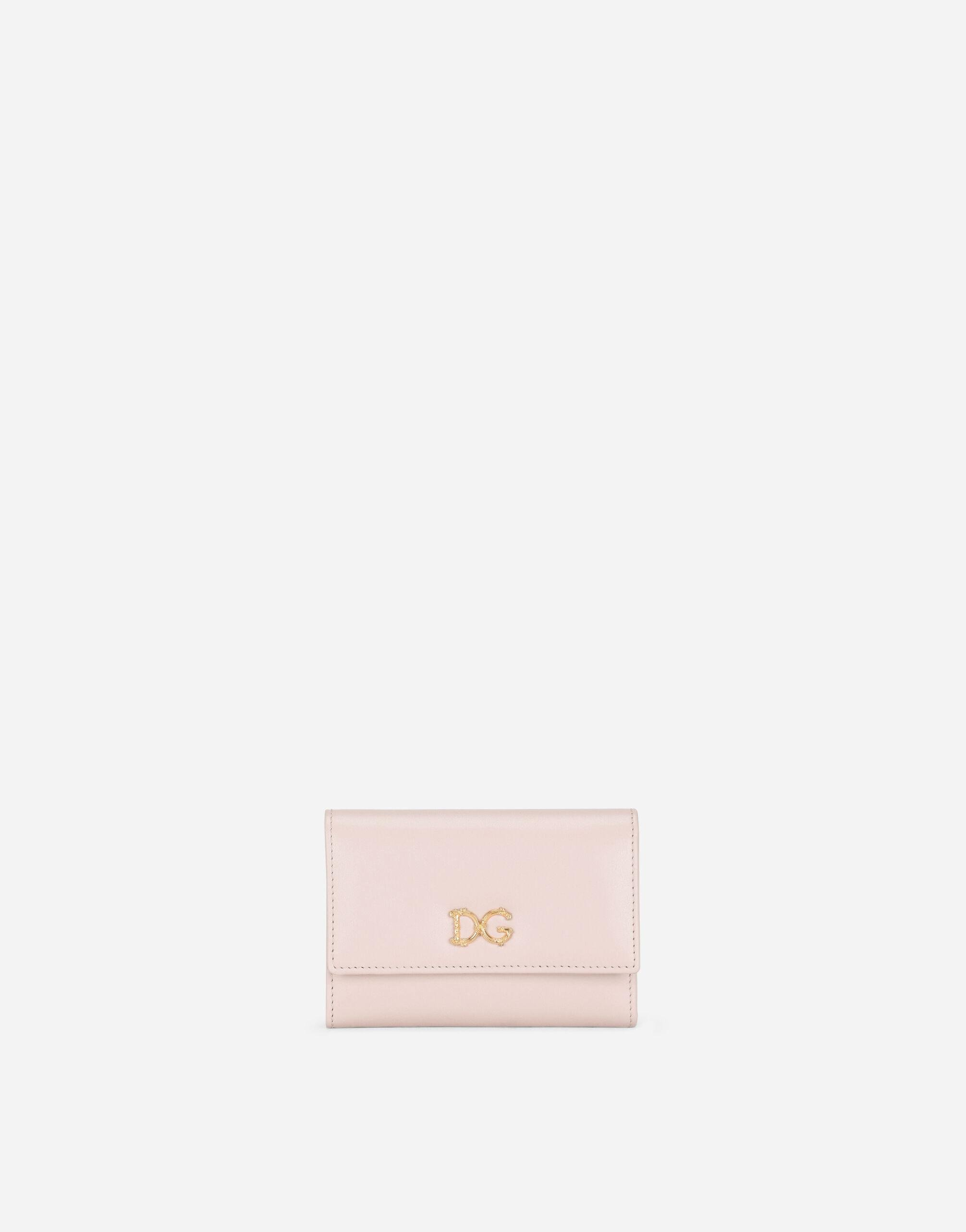 Small calfskin continental wallet with baroque GD logo