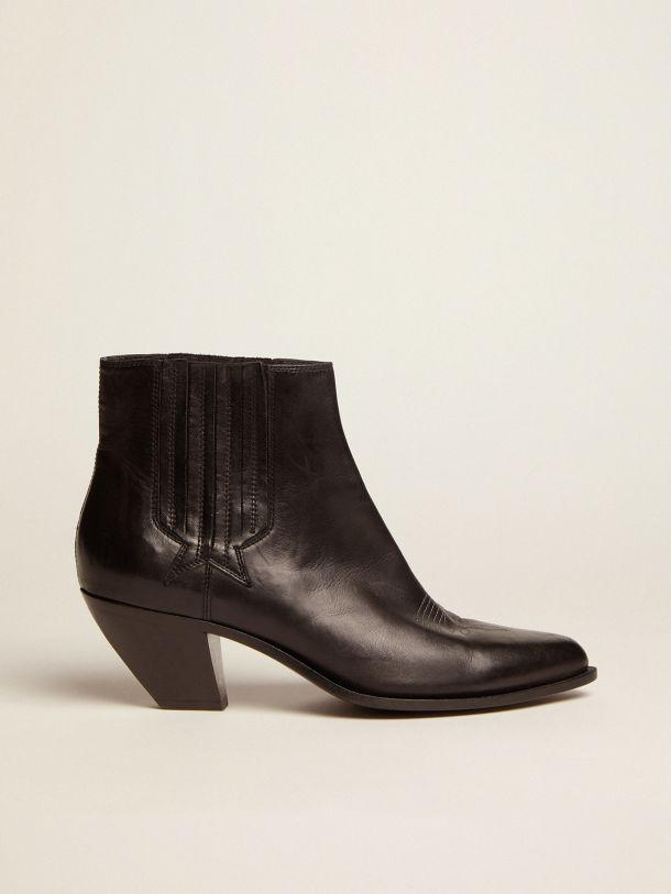 Black Sunset Flowers ankle boots with cowboy-style decoration