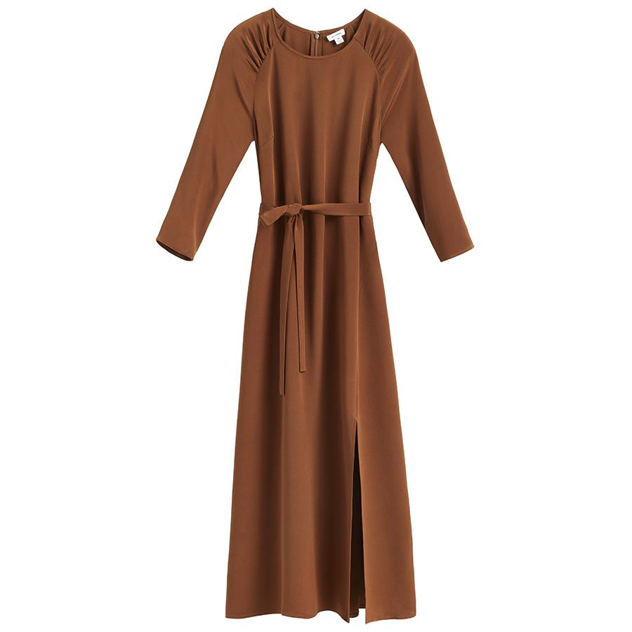 Women's Silk Fit-and-Flare Dress in Chestnut | Size: