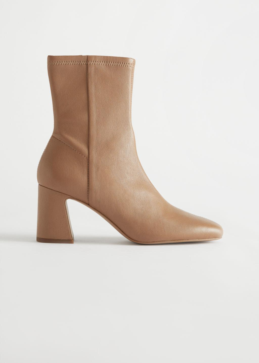 Almond Toe Leather Sock Boots