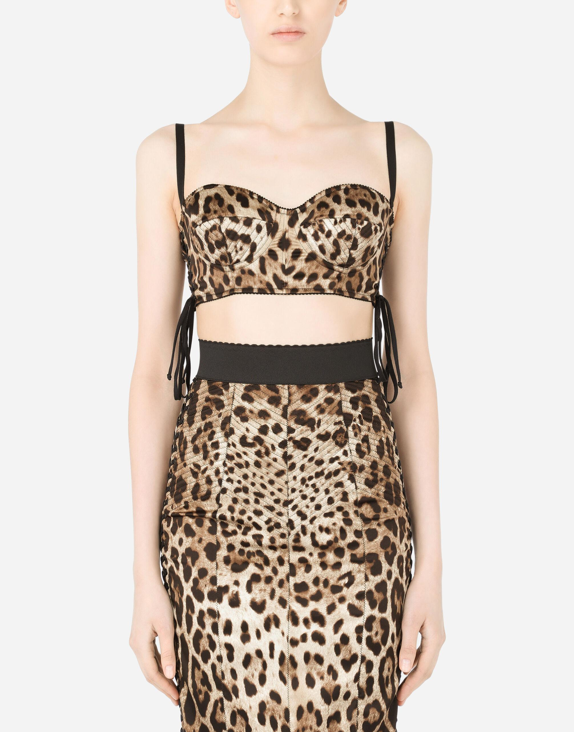 Leopard-print satin top with laces