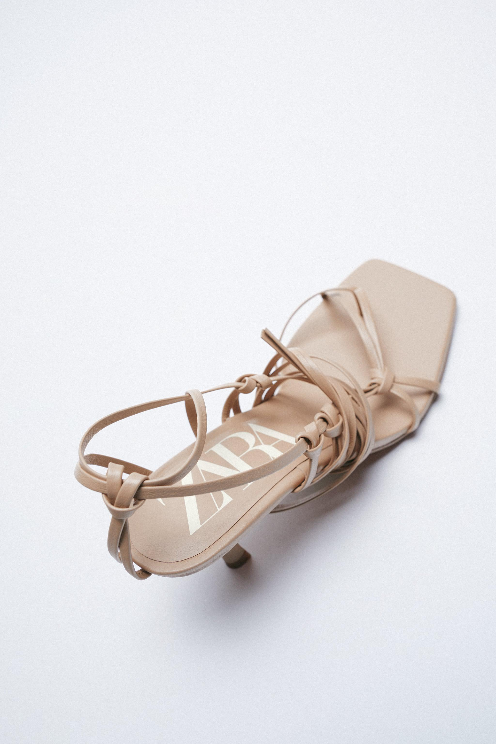 HEELED STRAPPY LEATHER SANDALS 6