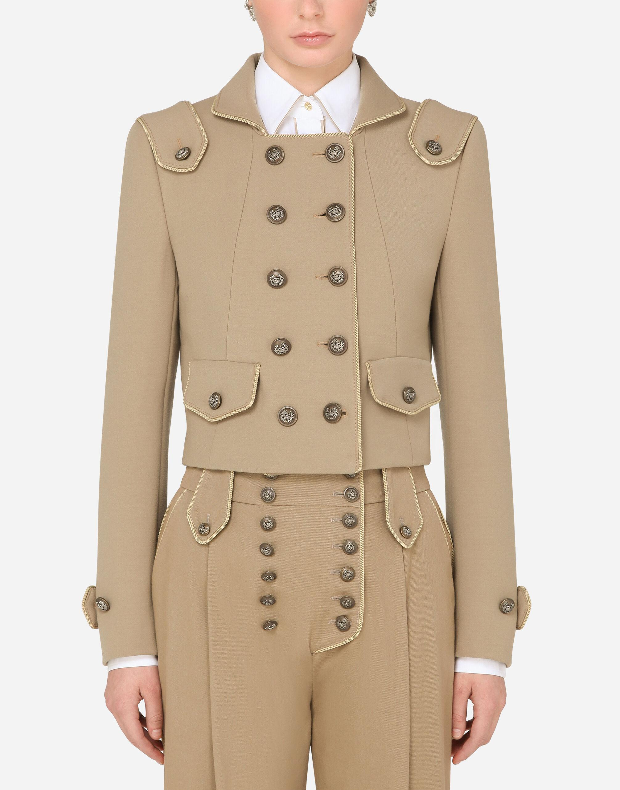 Cropped double-breasted jacket in wool with decorative buttons