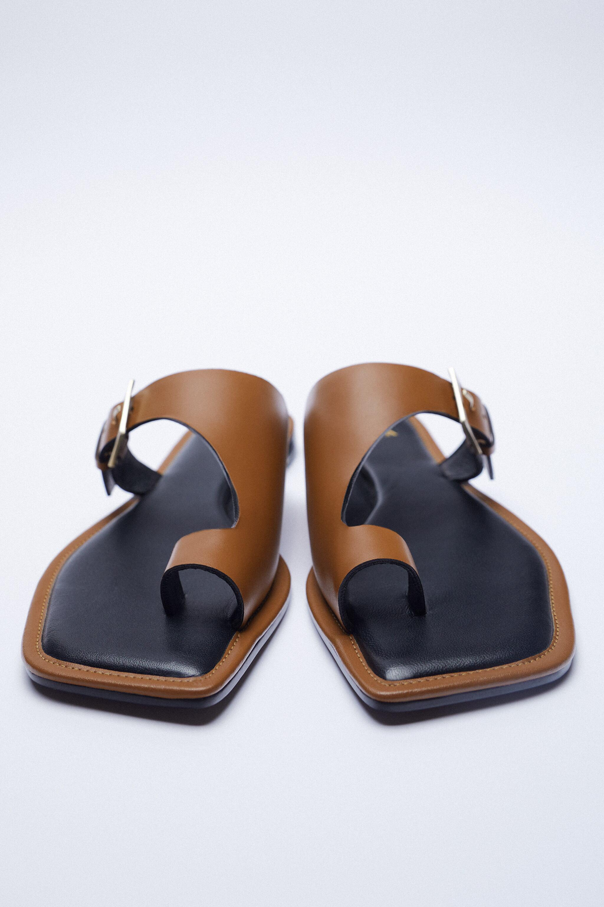 ASYMMETRICAL LEATHER SLIDE SANDALS WITH BUCKLE 7