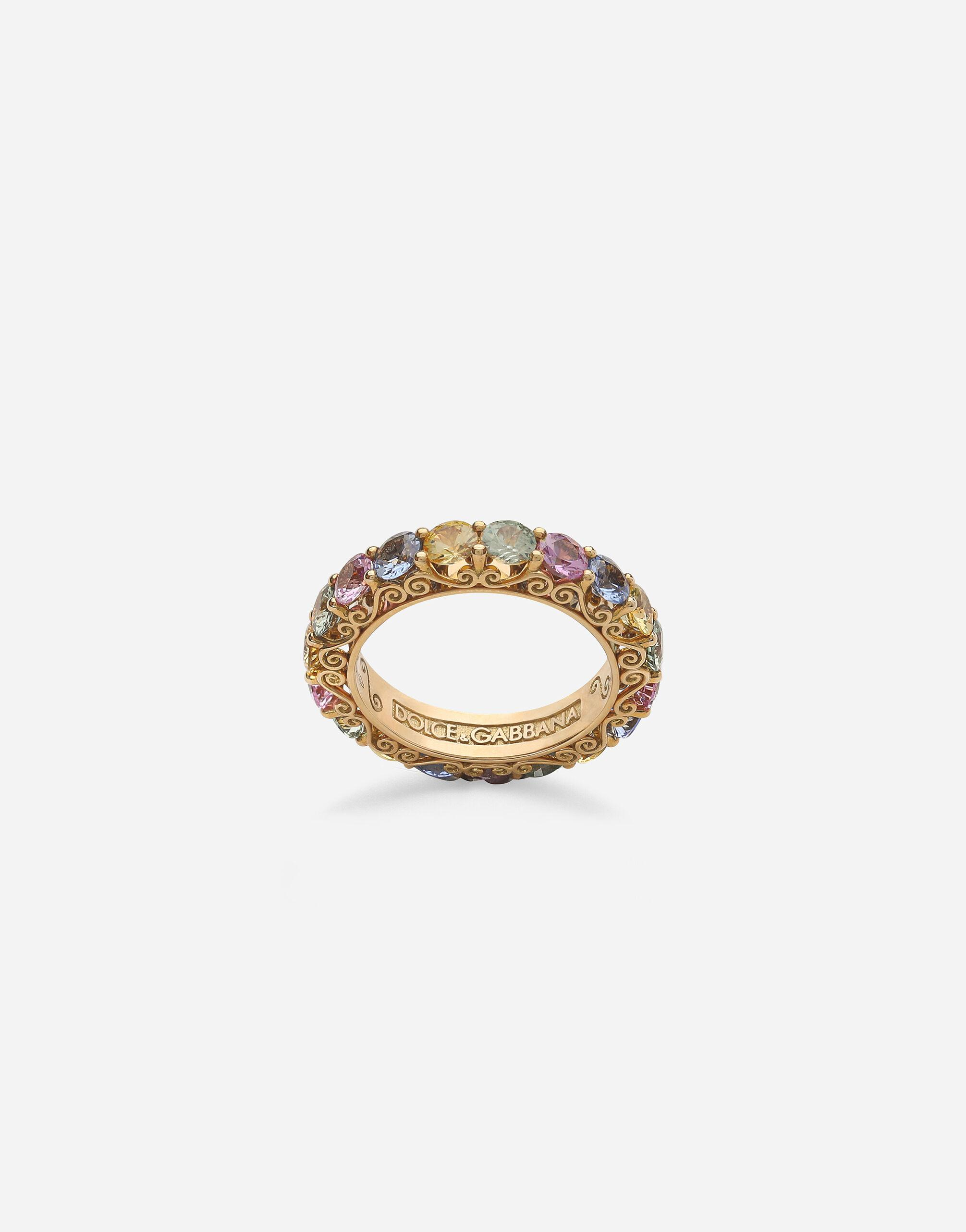 Heritage band ring in yellow 18kt gold with multicoloured sapphires