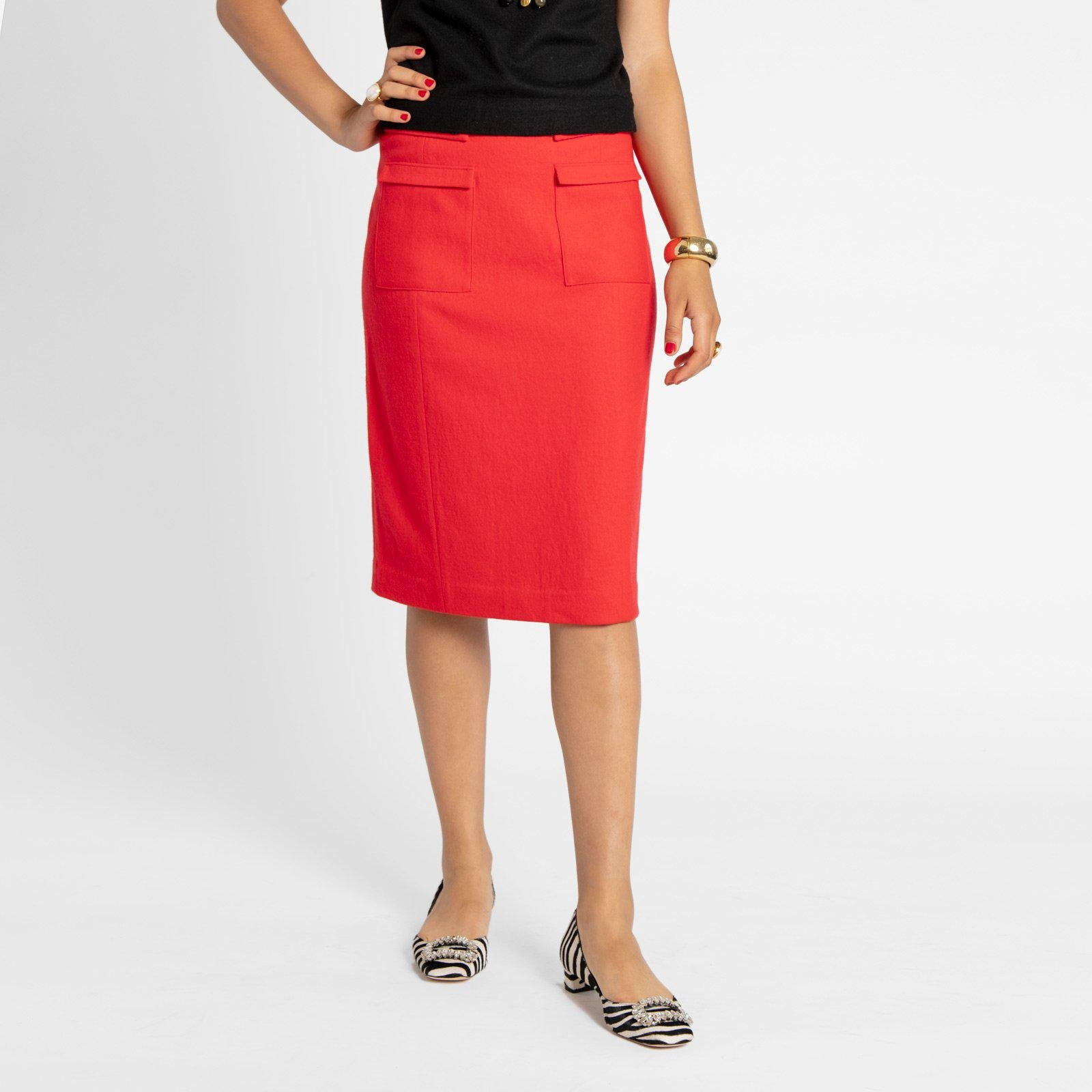 Wool Pencil Skirt Red
