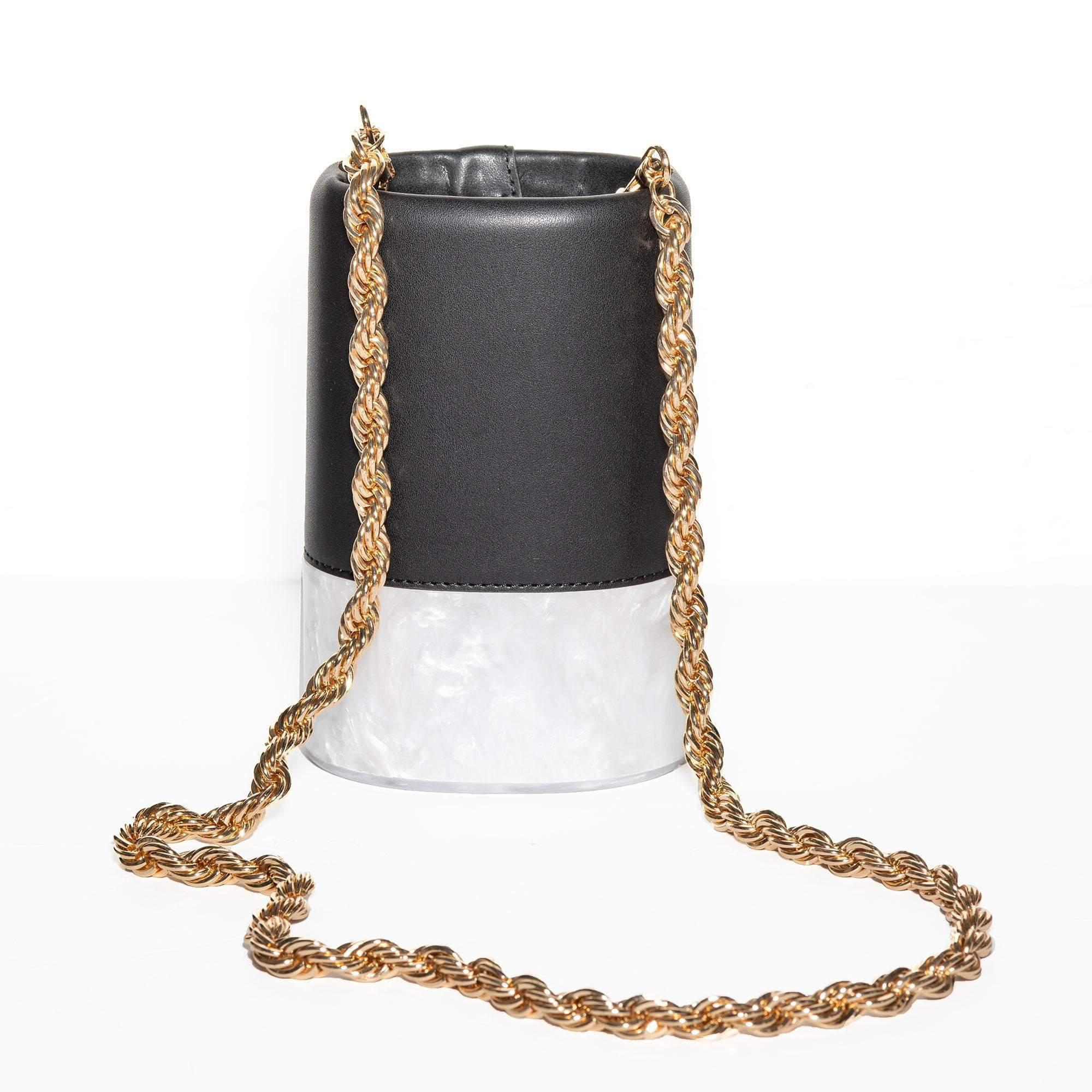 BLACK AND WHITE PETITE DALLAS BAG WITH CROSSBODY GOLD CHAIN