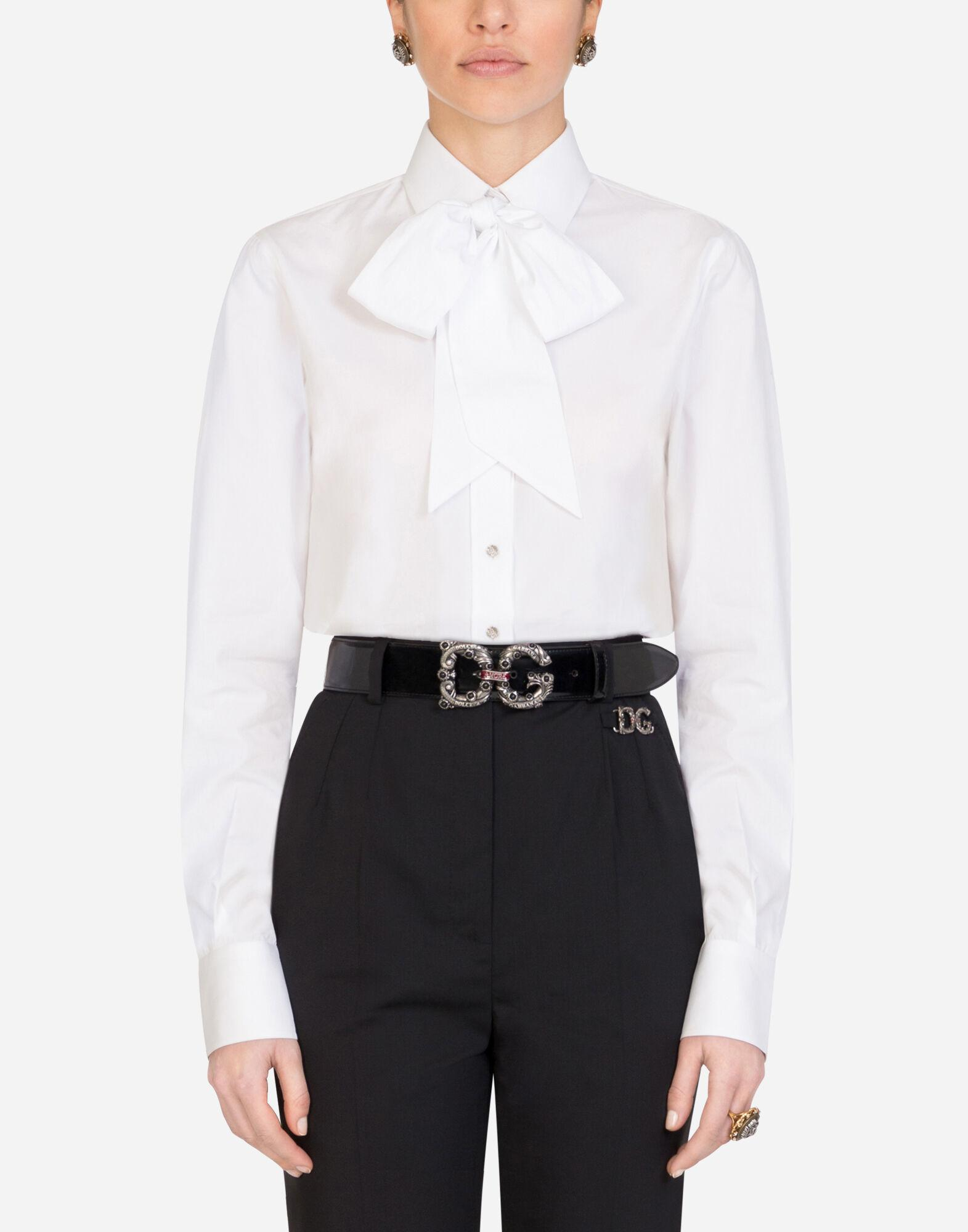 Poplin shirt with pussy bow