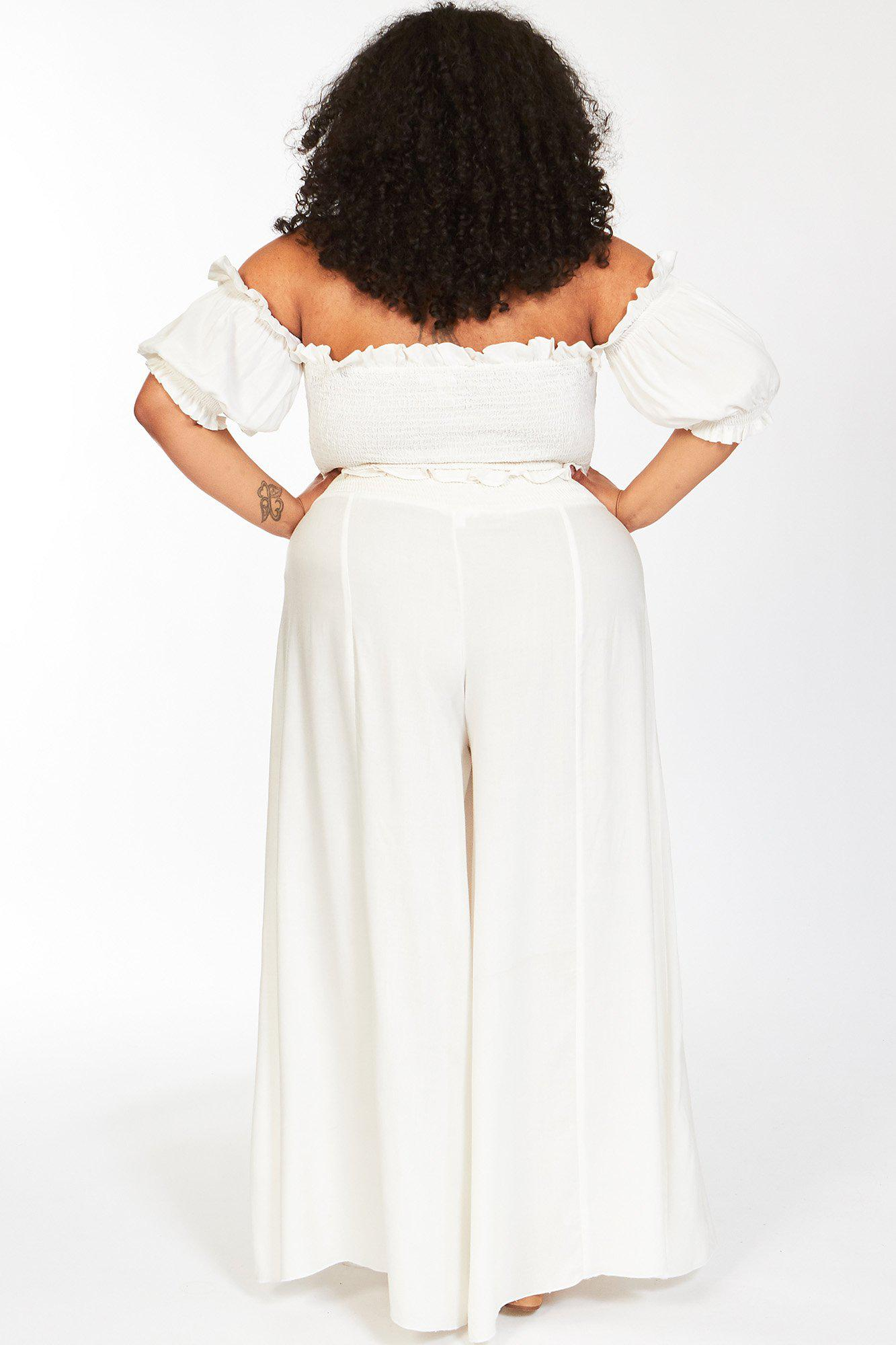 White True Karma Off The Shoulder Crop Top and Pants 3