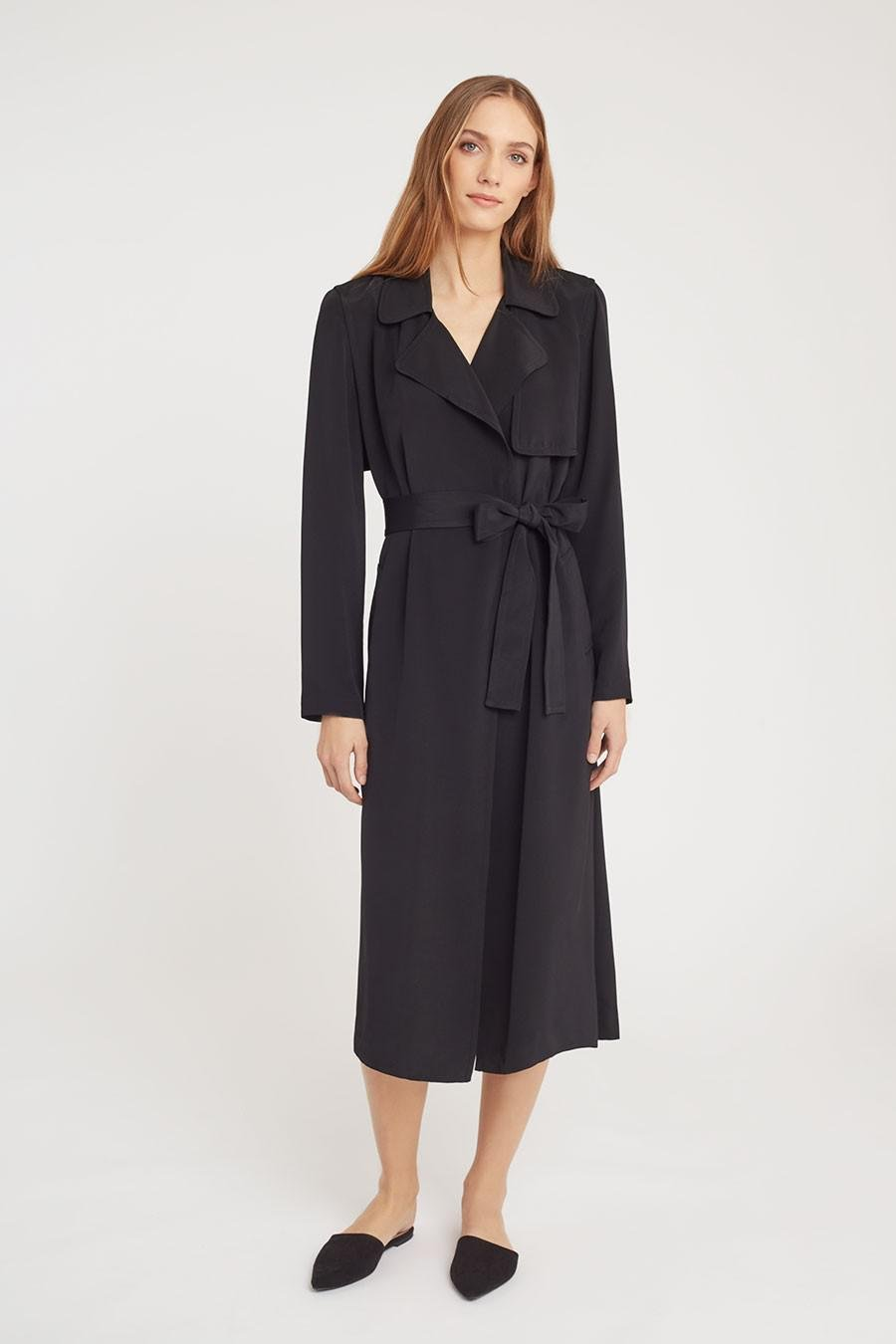 Women's Silk Classic Trench in Black | Size: 2