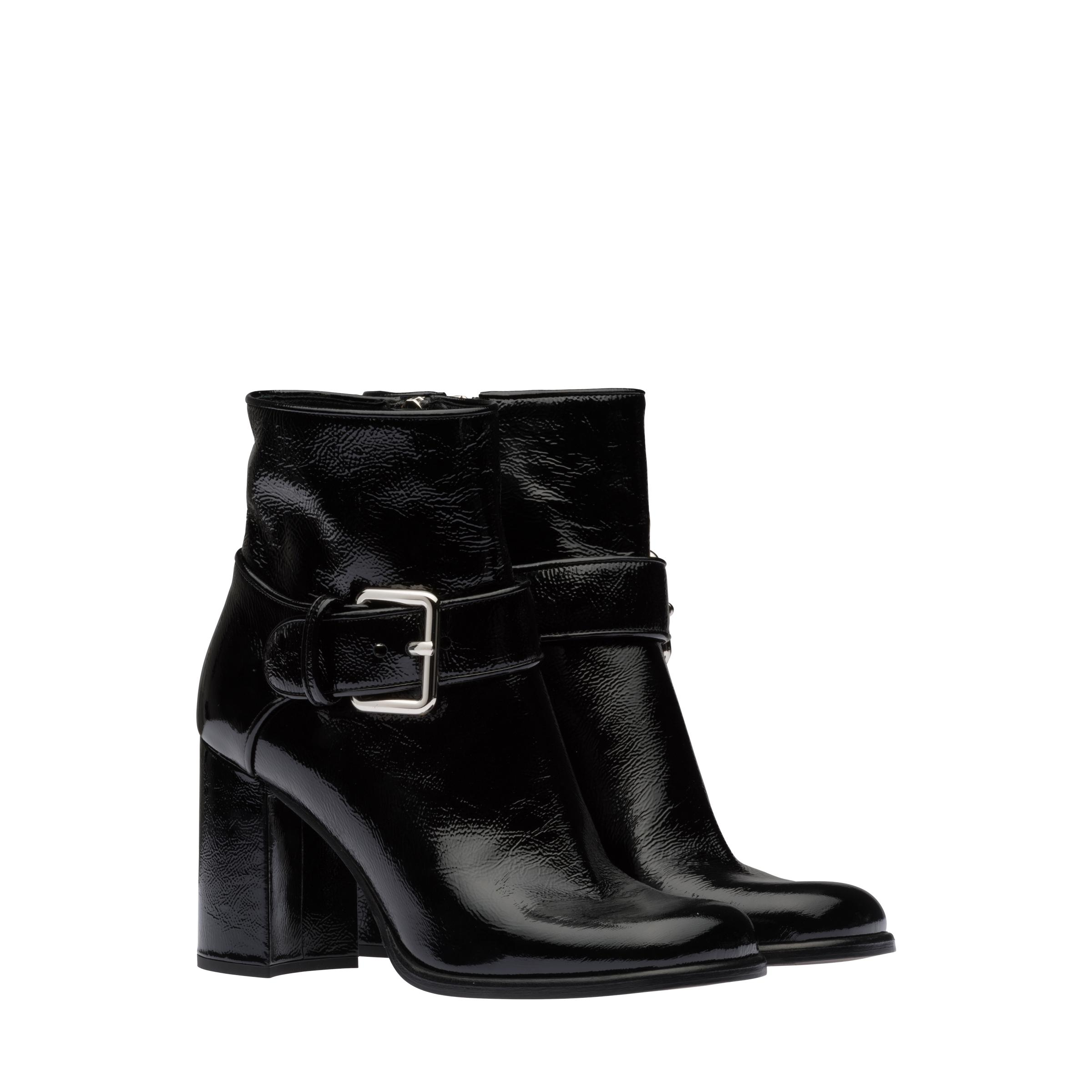 Patent Leather Booties Women Black