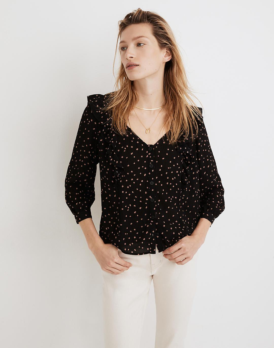 Ruffled Button-Front Top in Confetti Toss