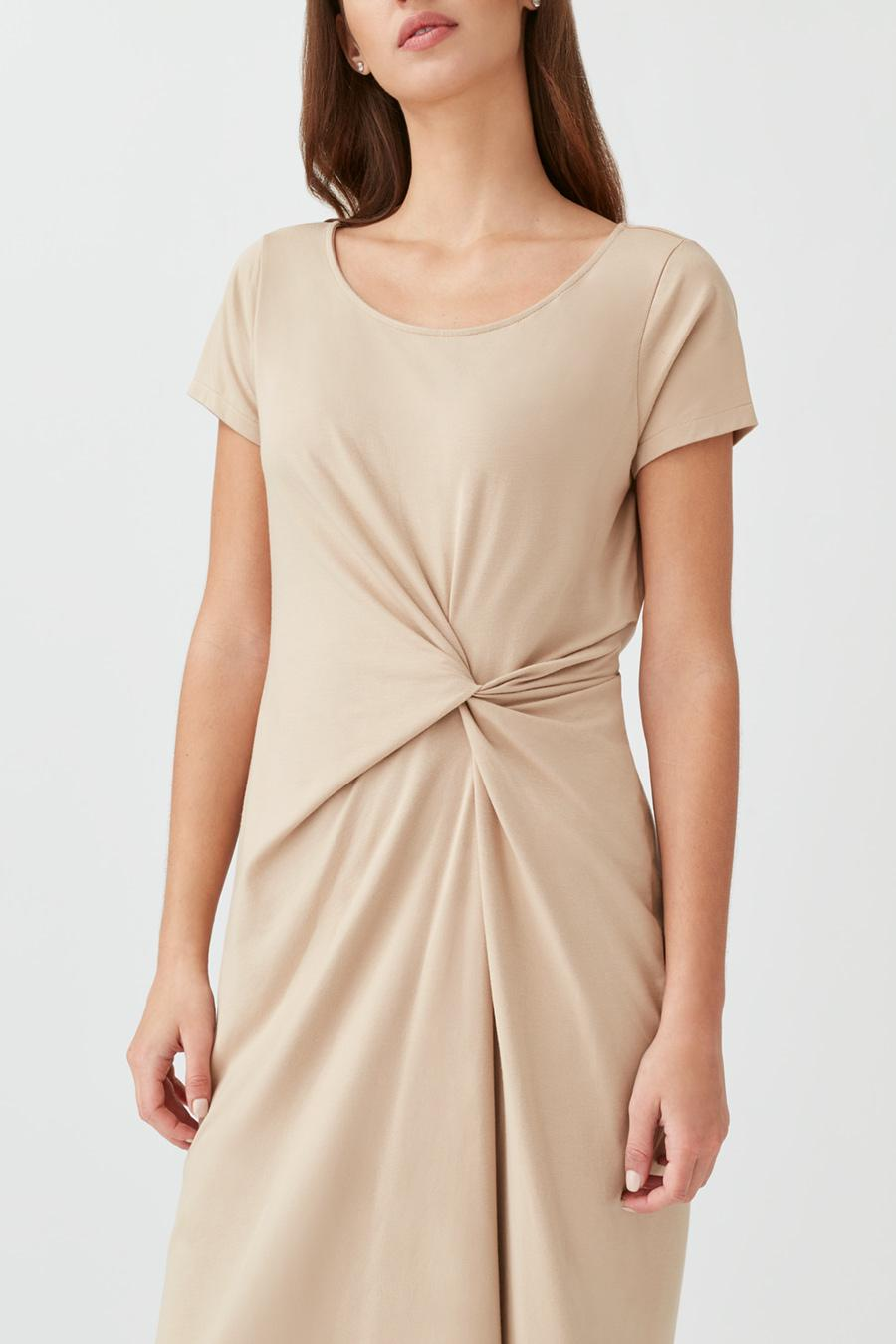 Women's Gathered Front Tee Dress in Dune | Size: Small | Pima Modal Spandex Blend by Cuyana 3