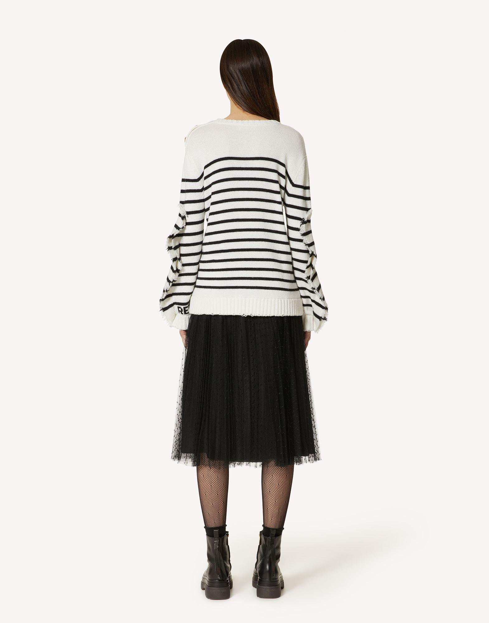 STRIPED WOOL-BLEND SWEATER WITH RUFFLE DETAIL 1