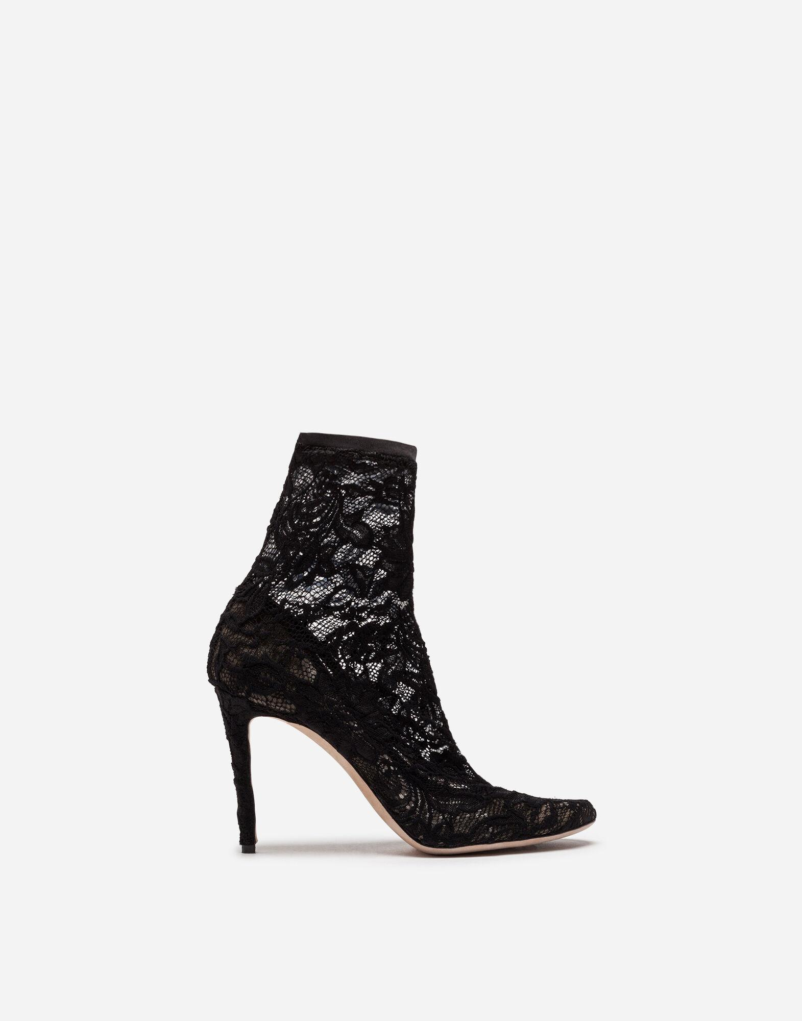 Ankle boot in stretch lace and gros grain