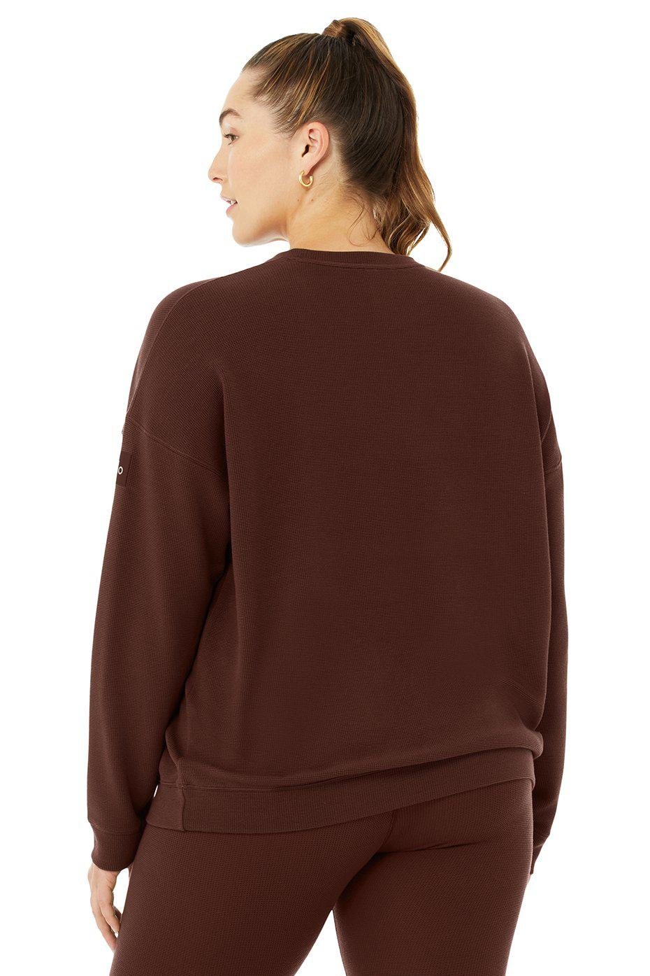 Micro Waffle Relaxation Pullover - Cherry Cola 5
