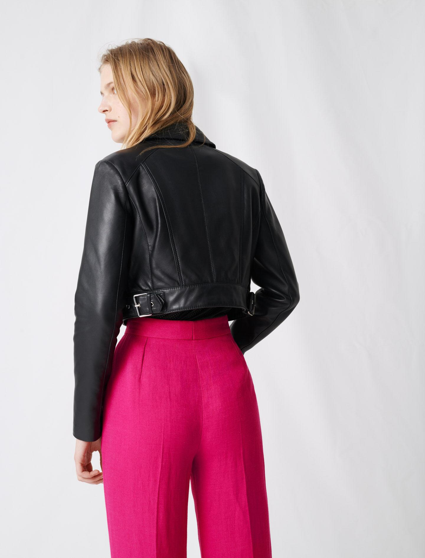 SHORT LEATHER JACKET WITH ASYMMETRIC ZIP 3