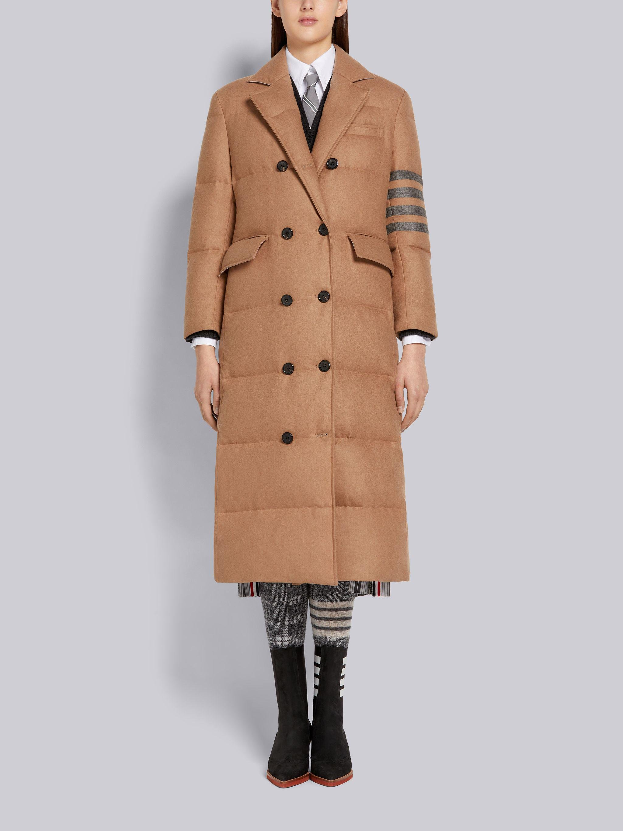 Down-Filled Jacket Weight Camel Hair 4-Bar Wide Lapel Trouser Length Double Breasted Overcoat