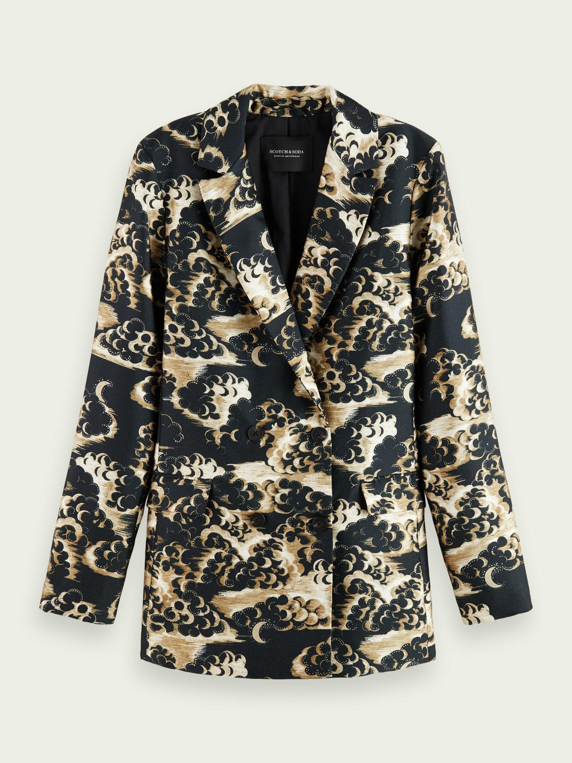Printed double-breasted blazer 5