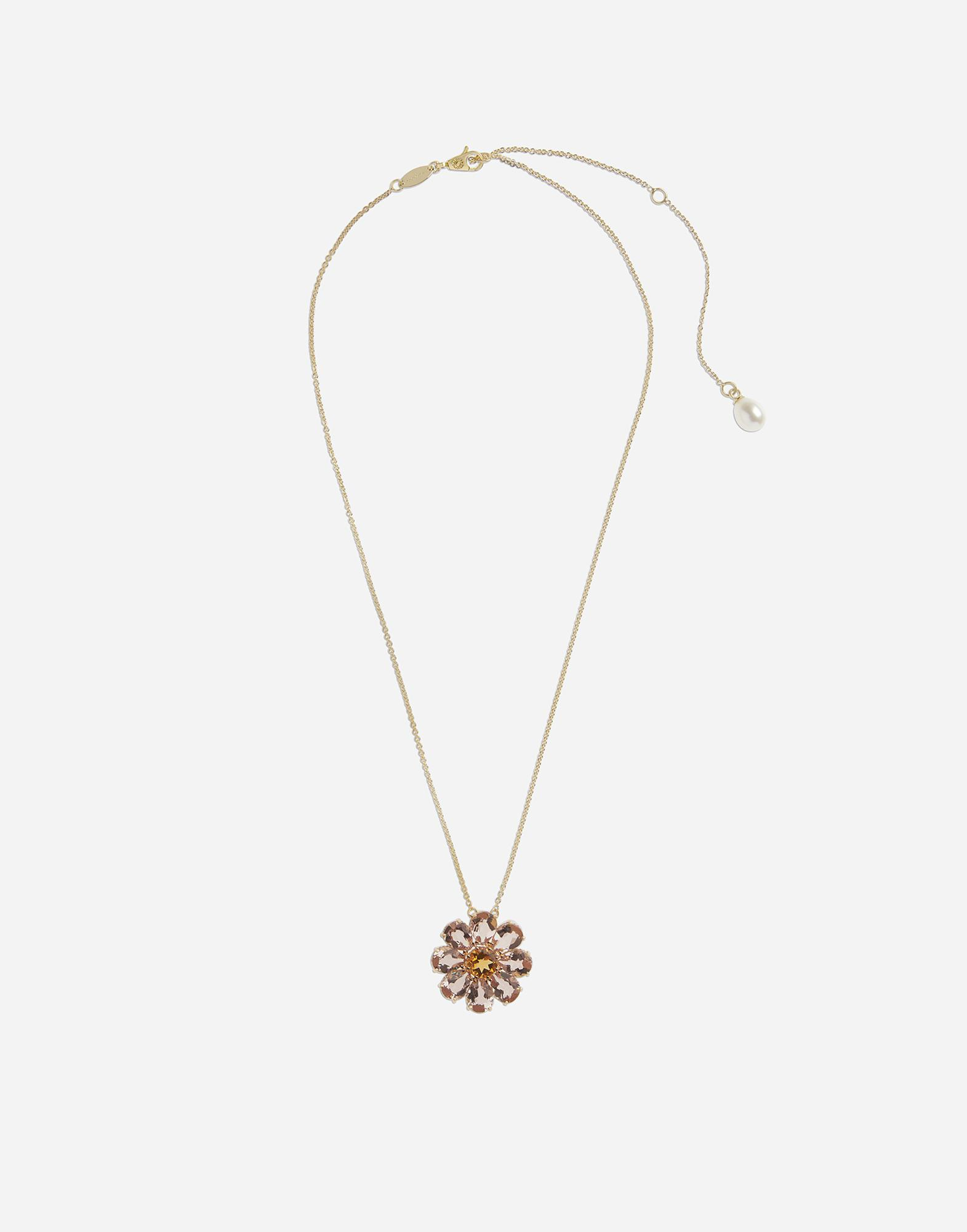 Necklace with red gold flower pendant