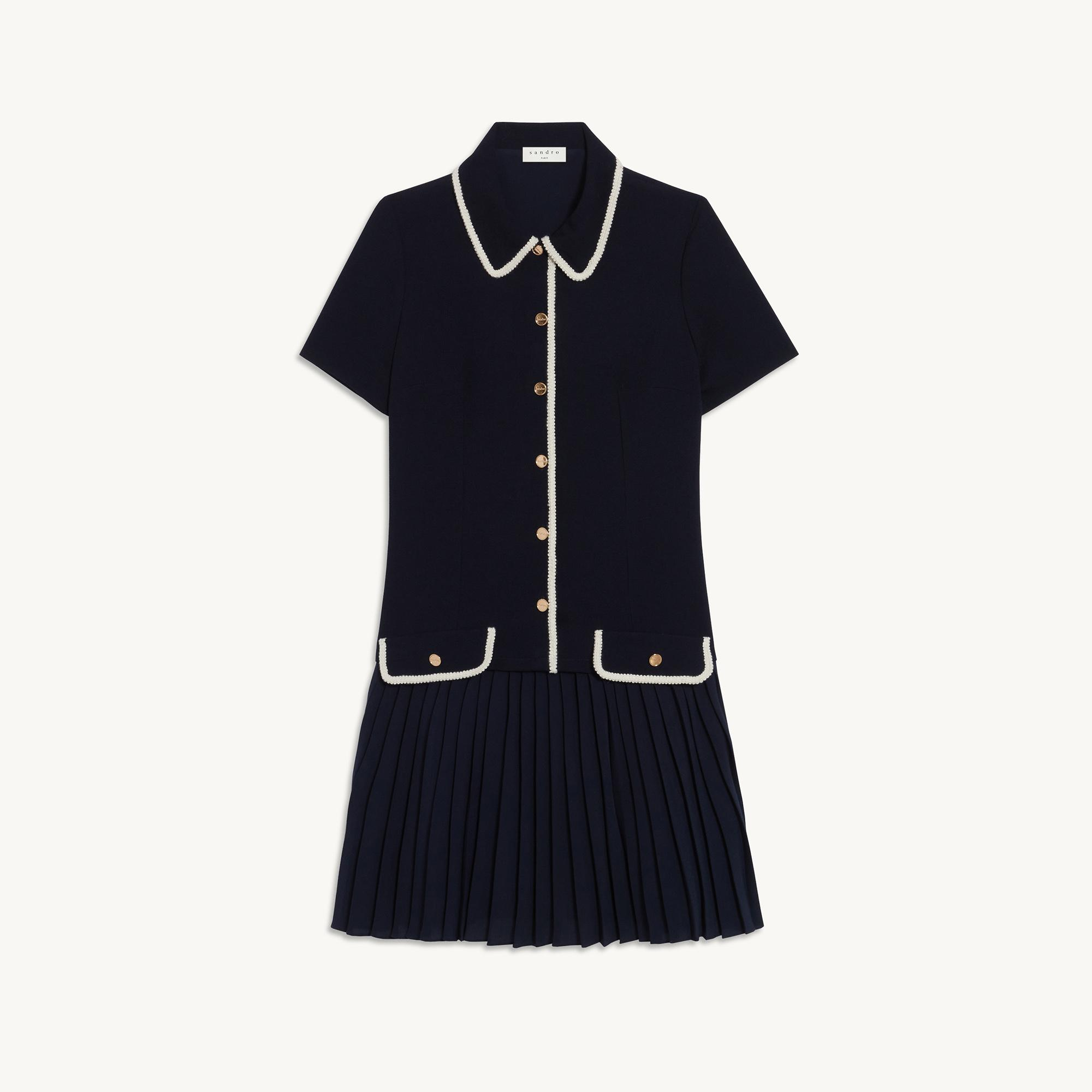Mixed material pleated dress 5