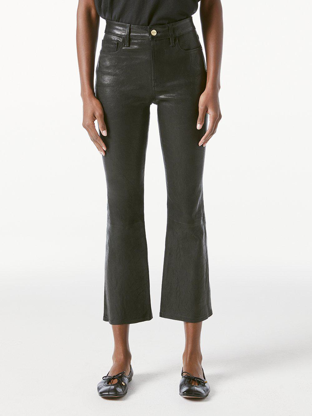 Le Crop Leather Mini Boot -- Washed Black