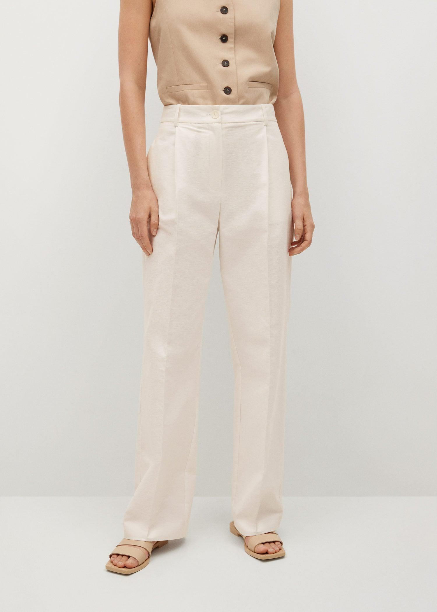 Pleat straight trousers 0