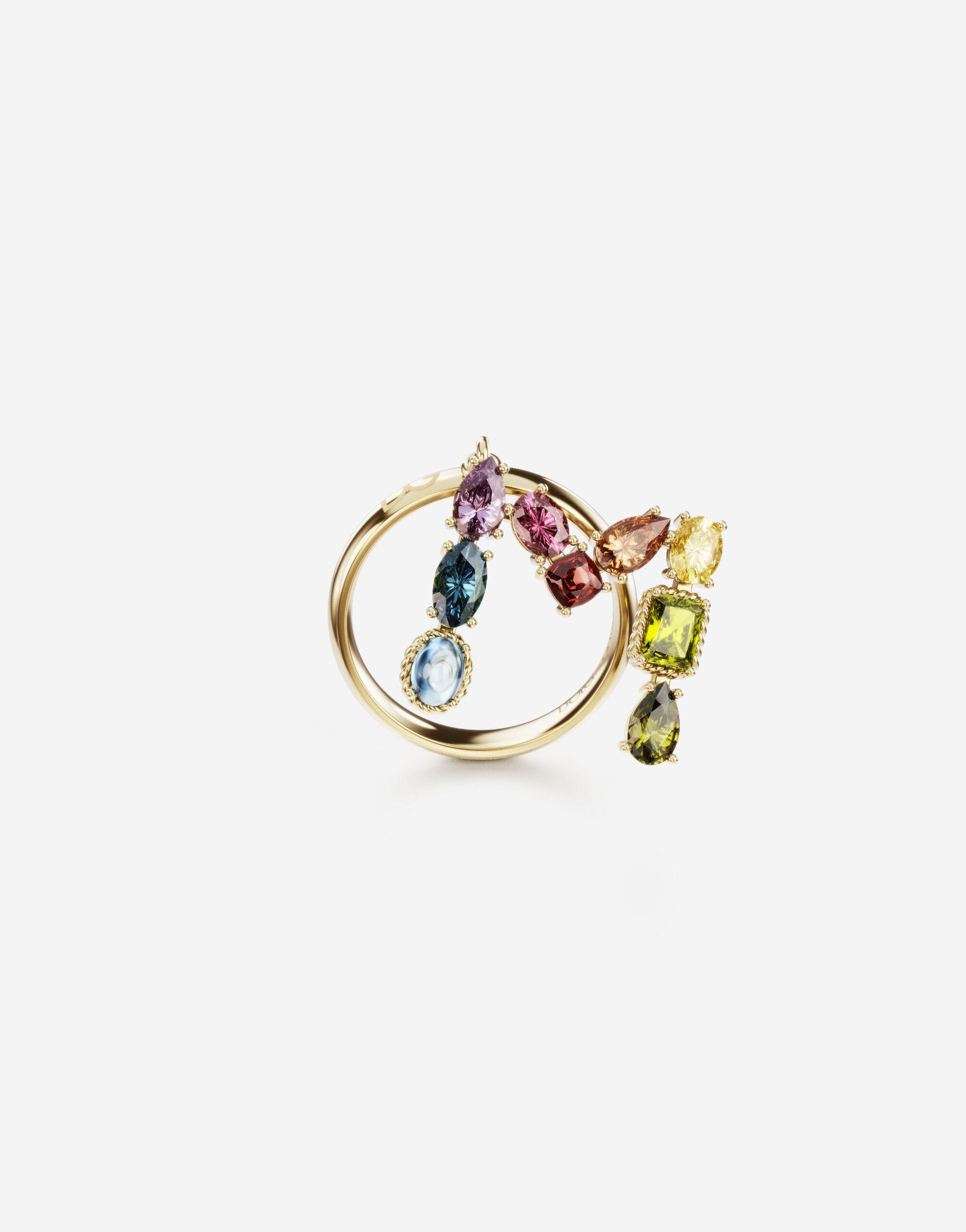 Rainbow alphabet M ring in yellow gold with multicolor fine gems
