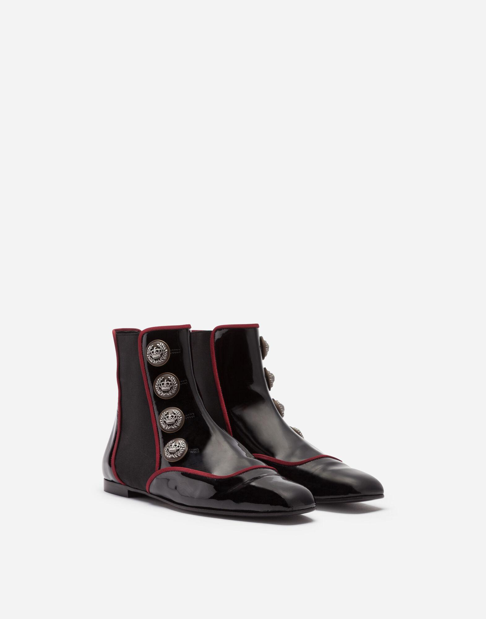Patent leather chelsea boots with buttons 1