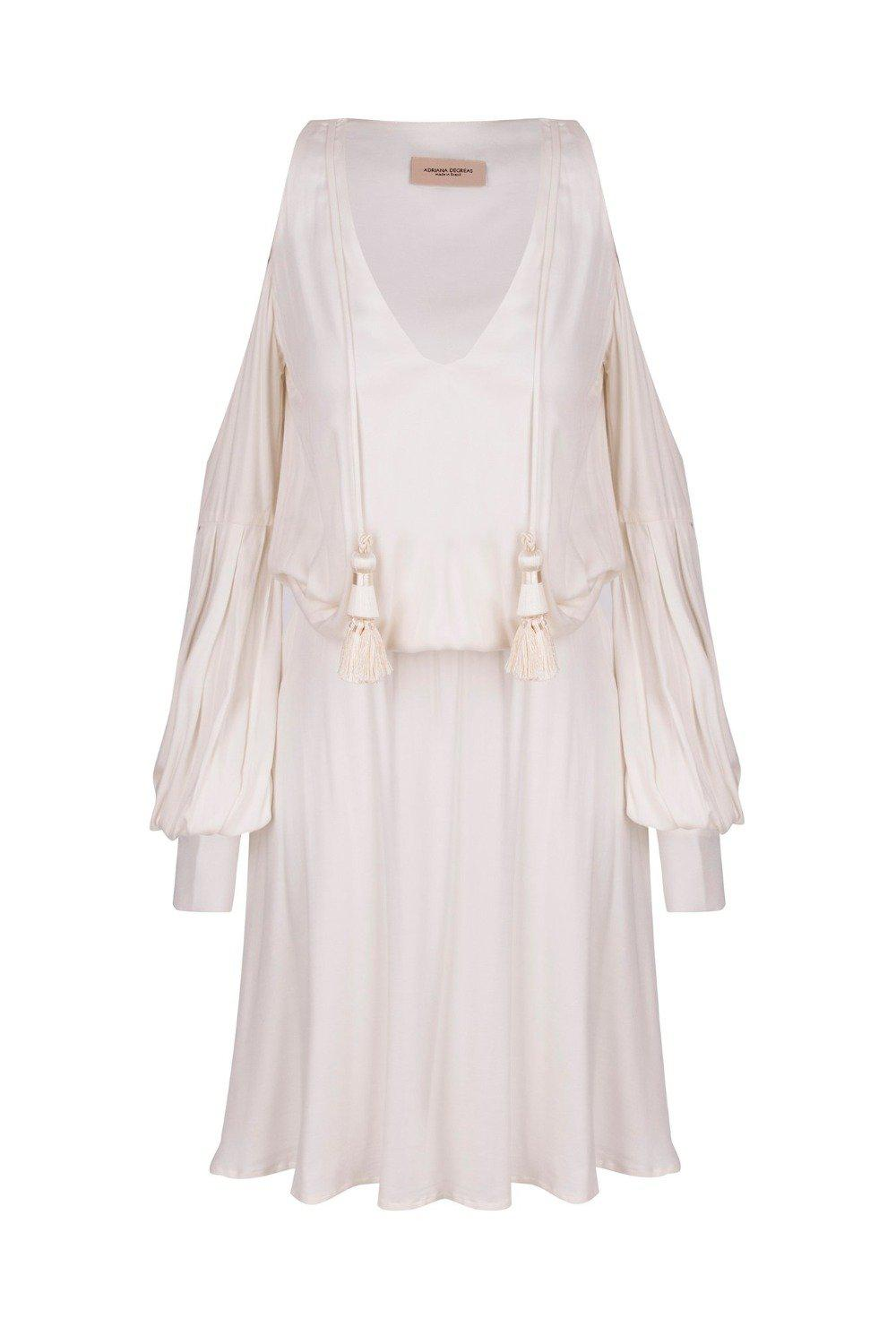 Horse Skin Solid Short Dress with Bare shoulders and Tassels
