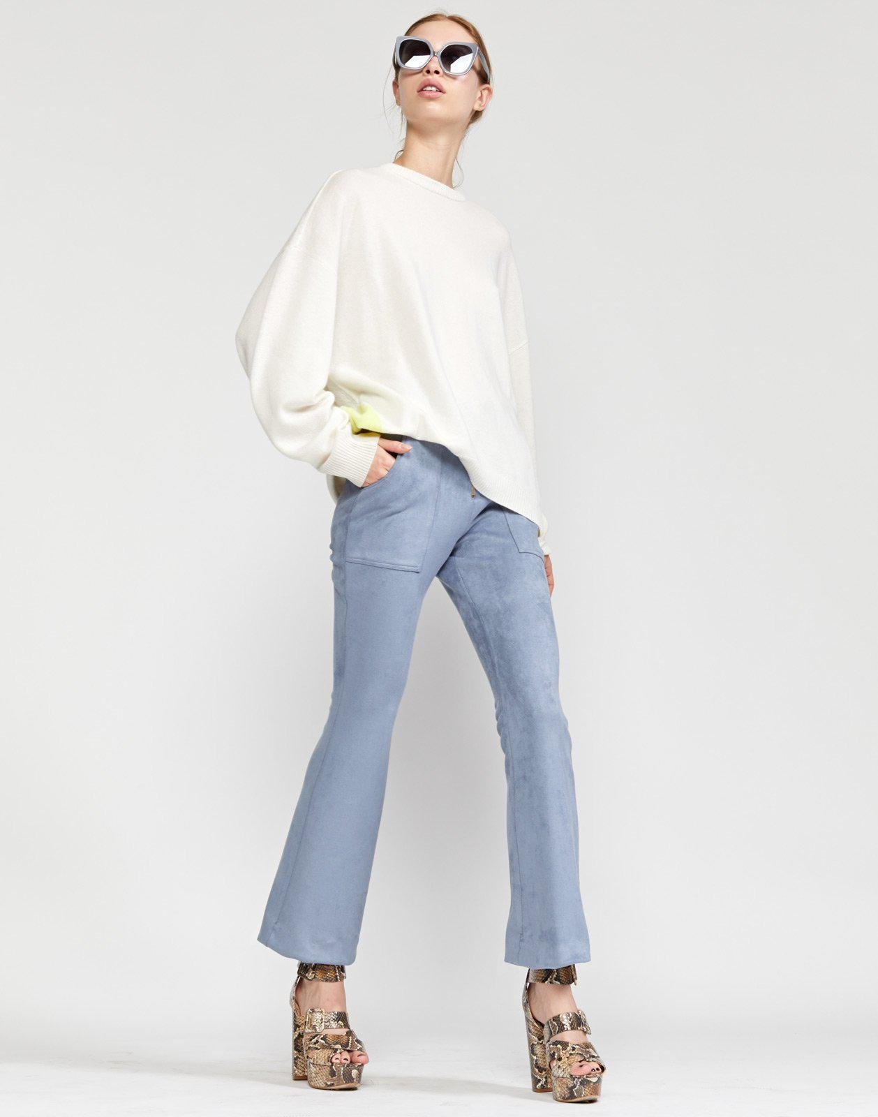 Nadia Stretch Faux-suede Flared Pant 2
