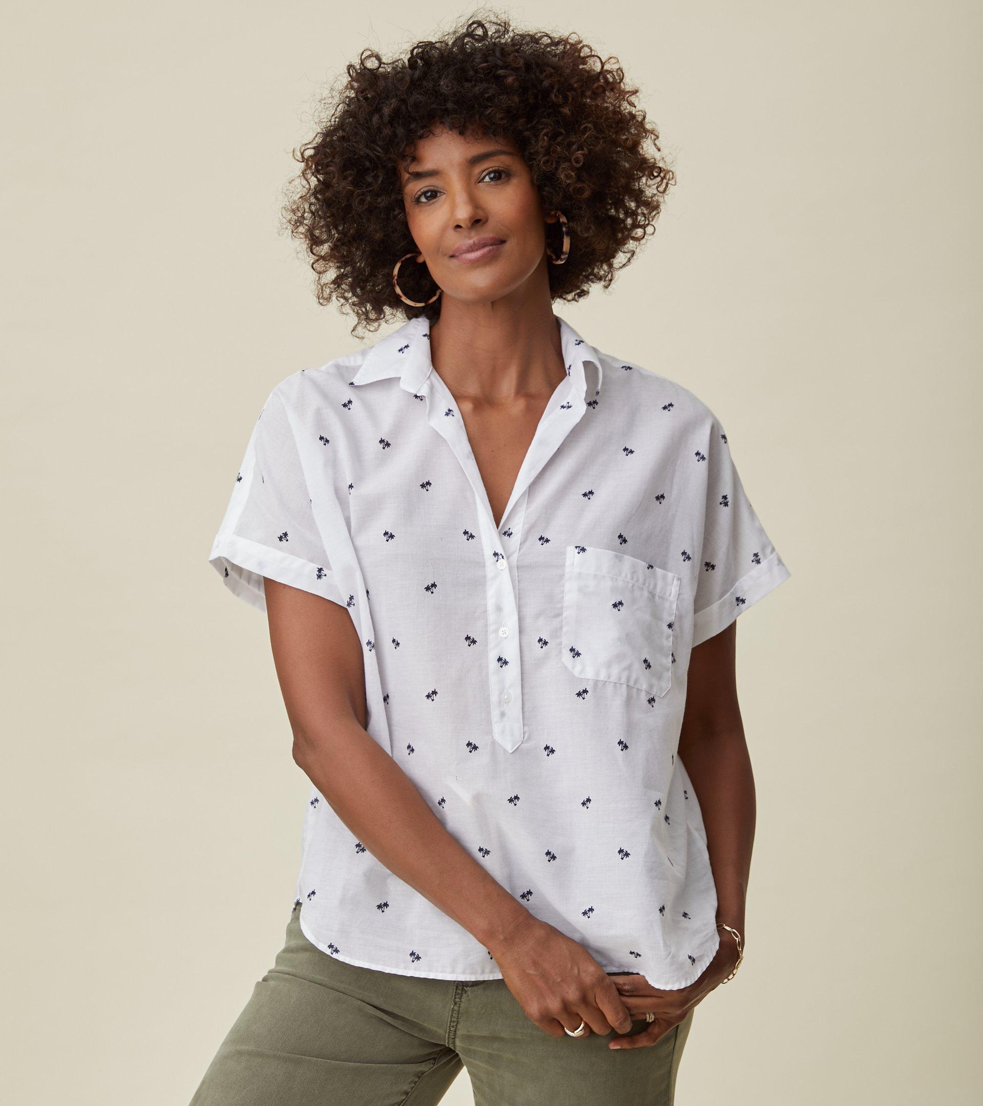 The Artist Short Sleeve Shirt White with Navy Palm, Tissue Cotton