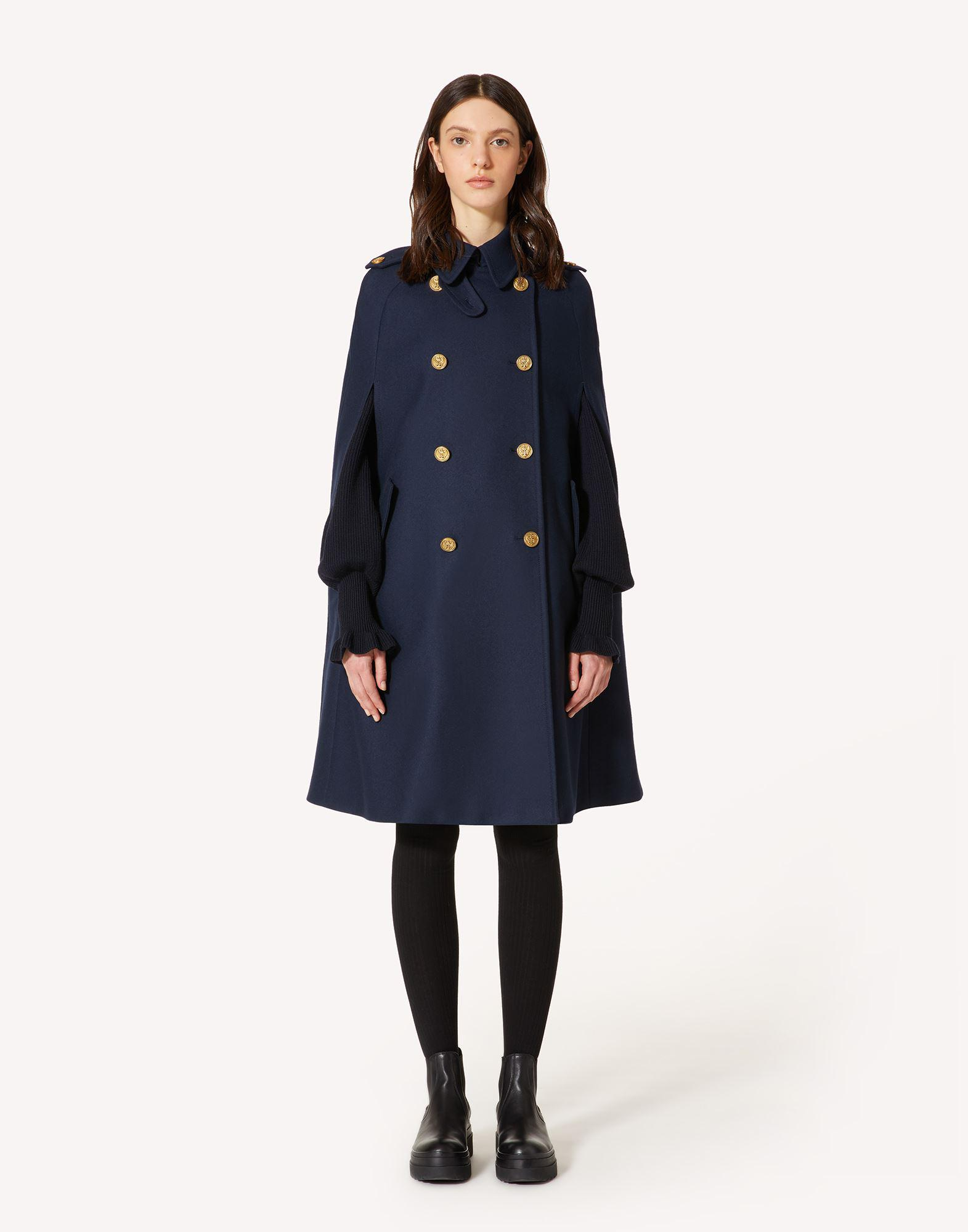 FELT WOOL CAPE WITH MARINE BUTTONS