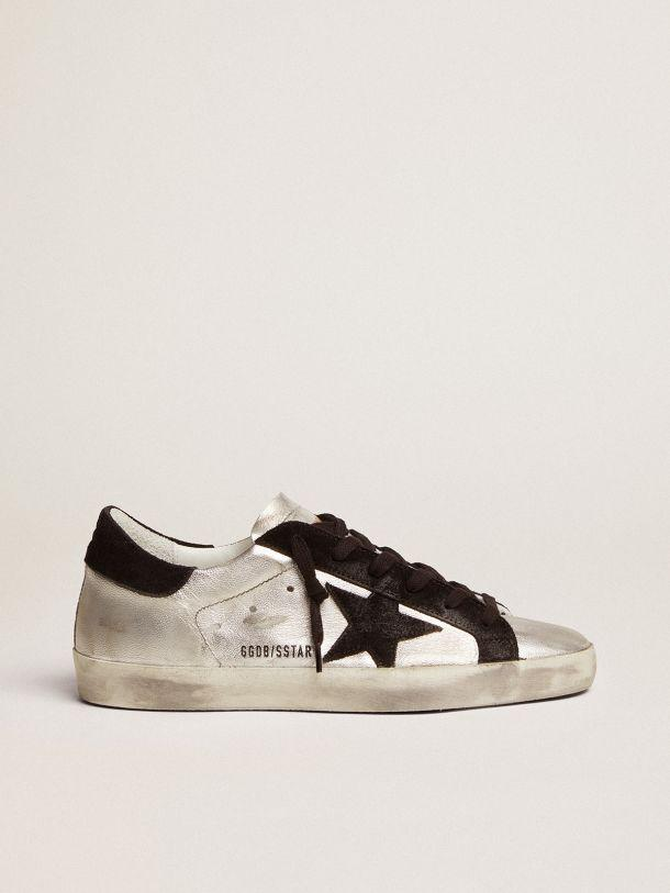 Super-Star sneakers in silver leather with contrasting inserts
