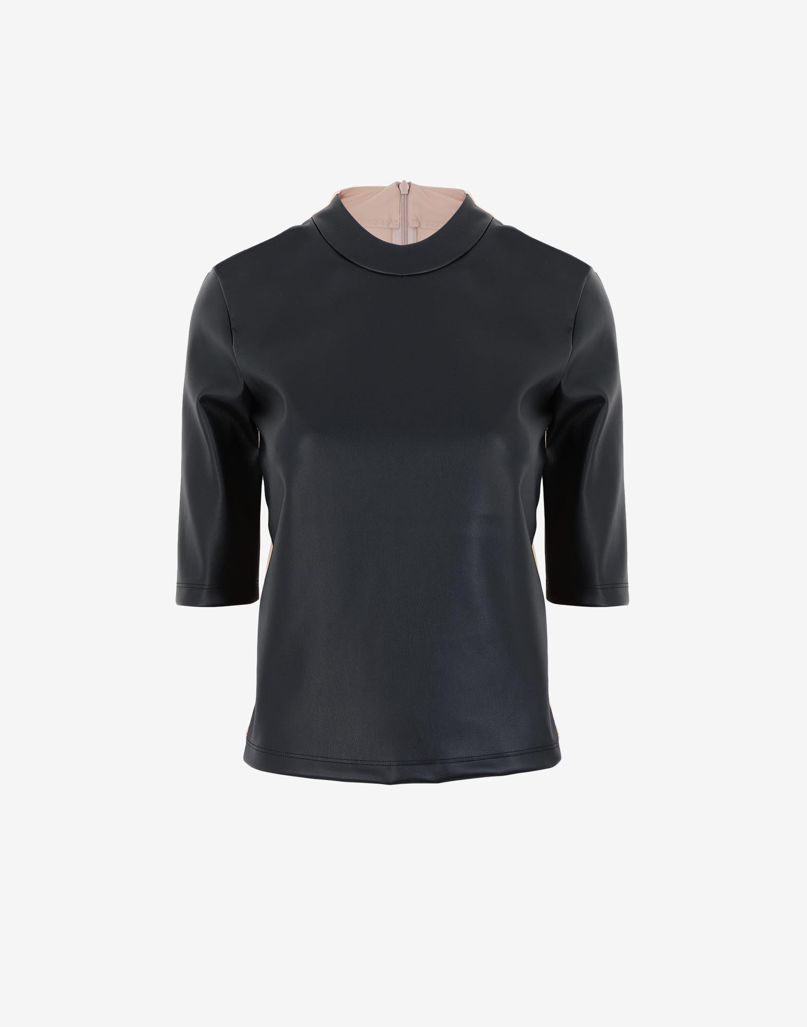 Spliced faux leather top 4