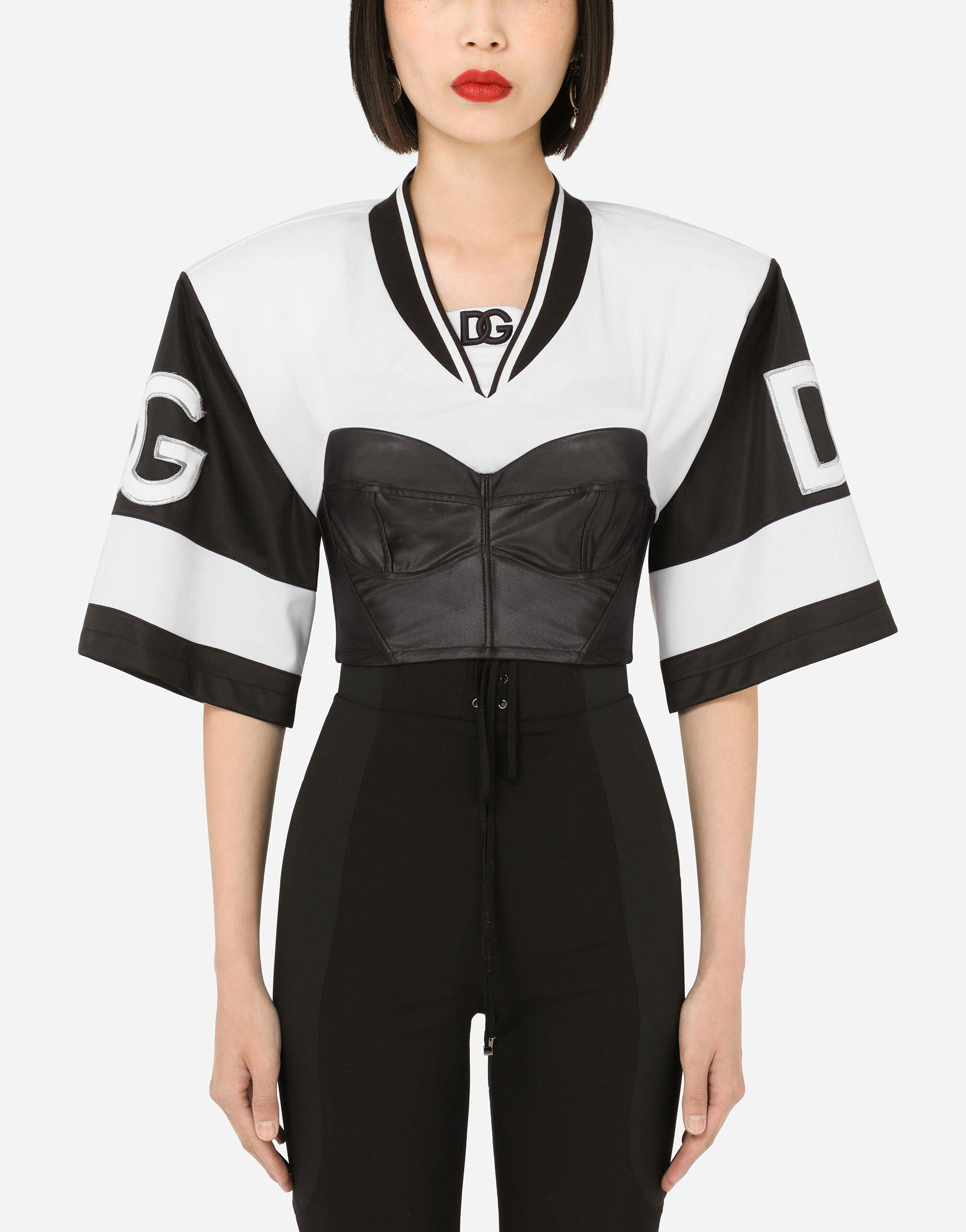 Cropped technical jersey T-shirt