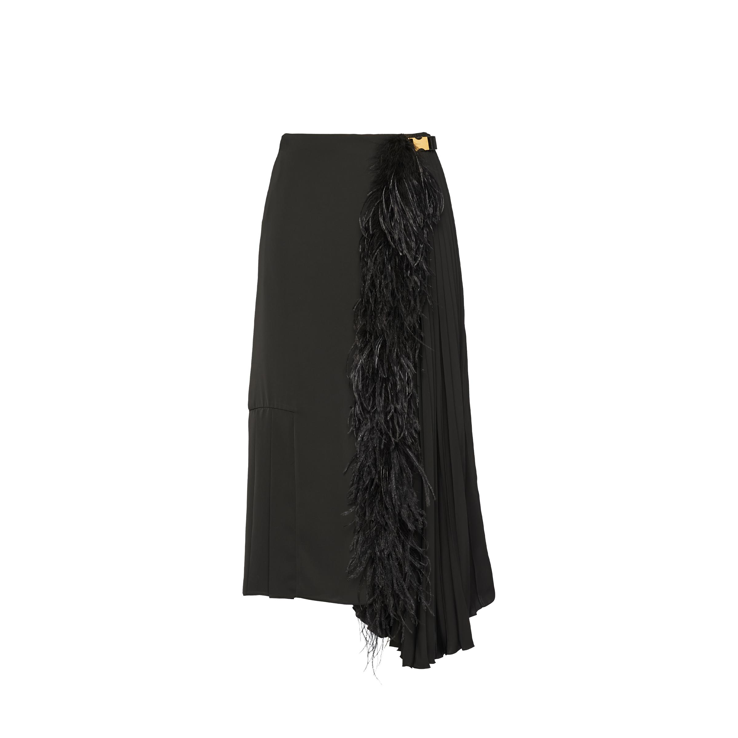 Fluid Twill Skirt With Feathers Women Black/black