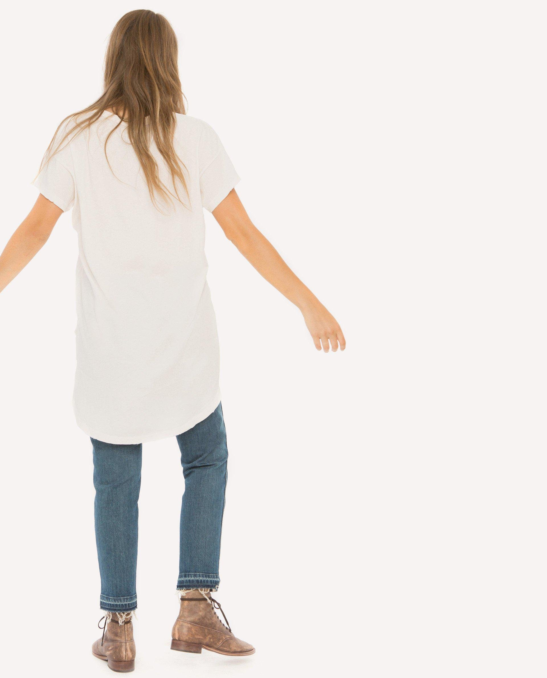 The Shirttail Tee. -- Washed White