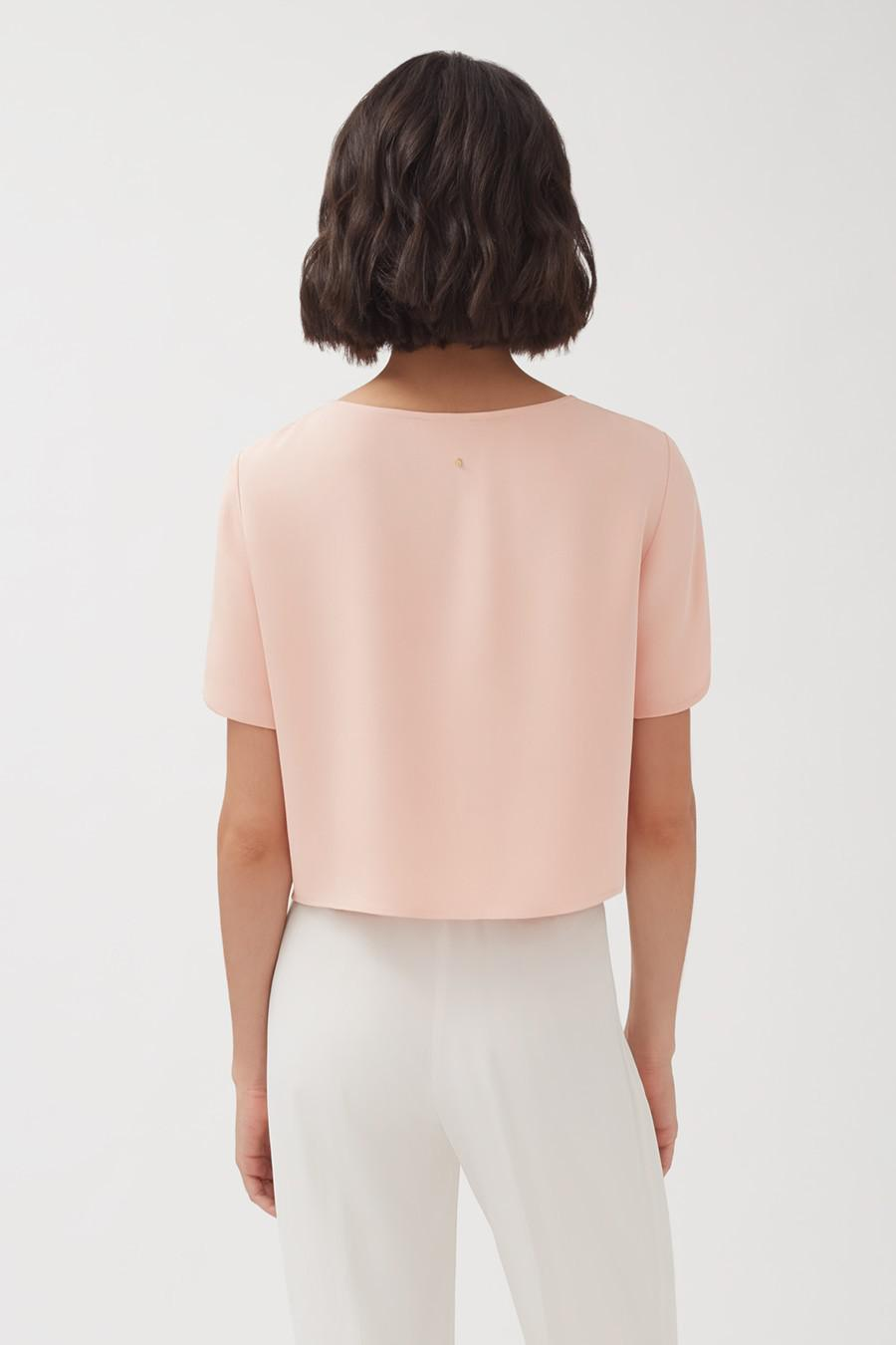 Women's Silk Cropped Tee in Soft Rose   Size: XL   3-Ply Silk by Cuyana 2
